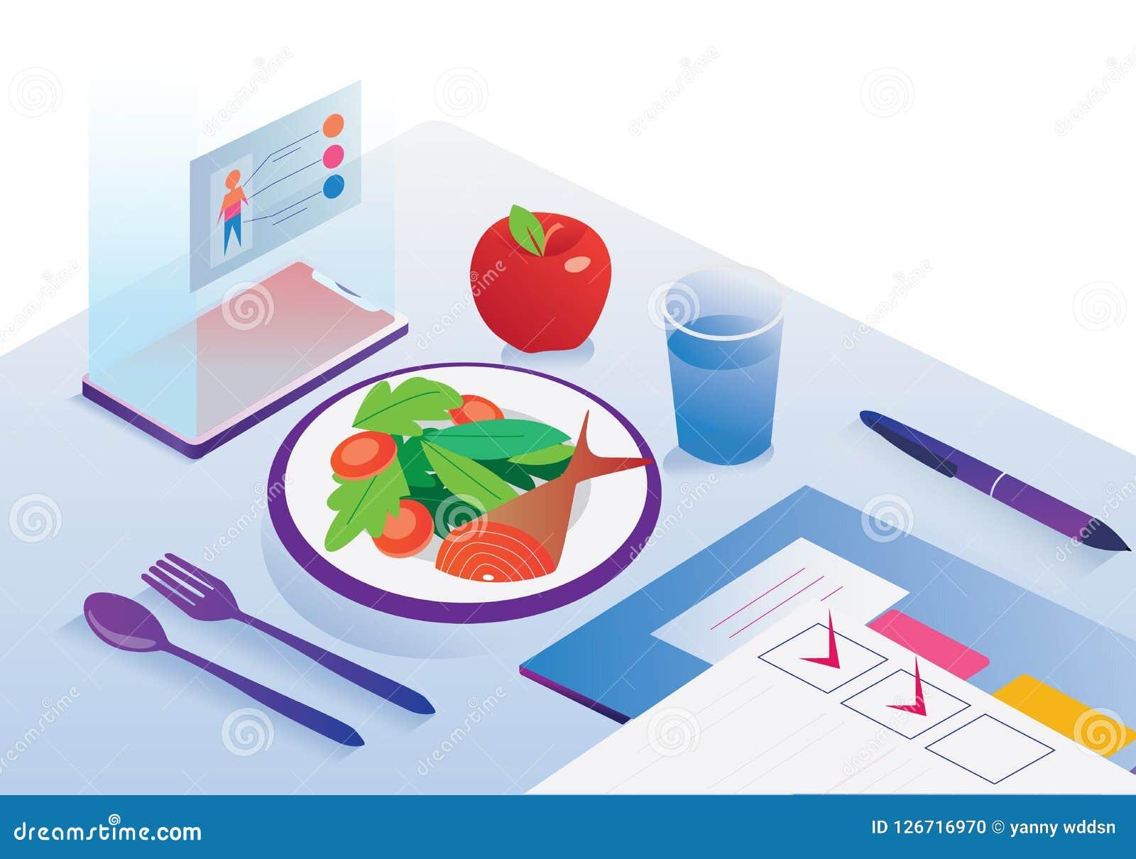 Illustratie van mobiel app het voedselfruit van de dieet gezond manager