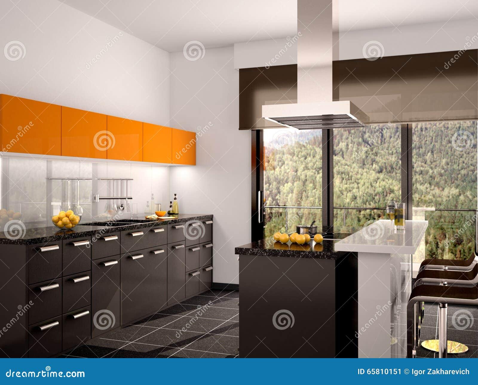 Illustratie Van Moderne Zwarte En Oranje Keuken Stock Illustratie ...
