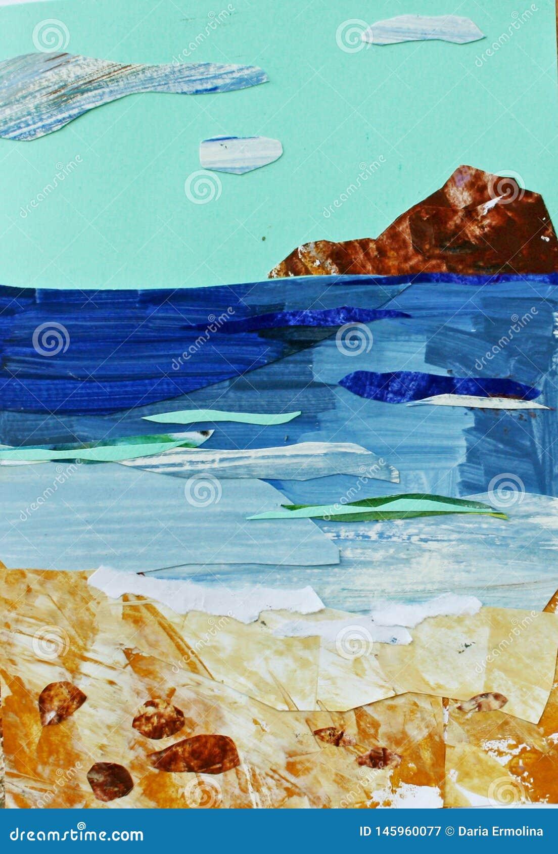 Illustratie van overzees landschap met turkooise hemel