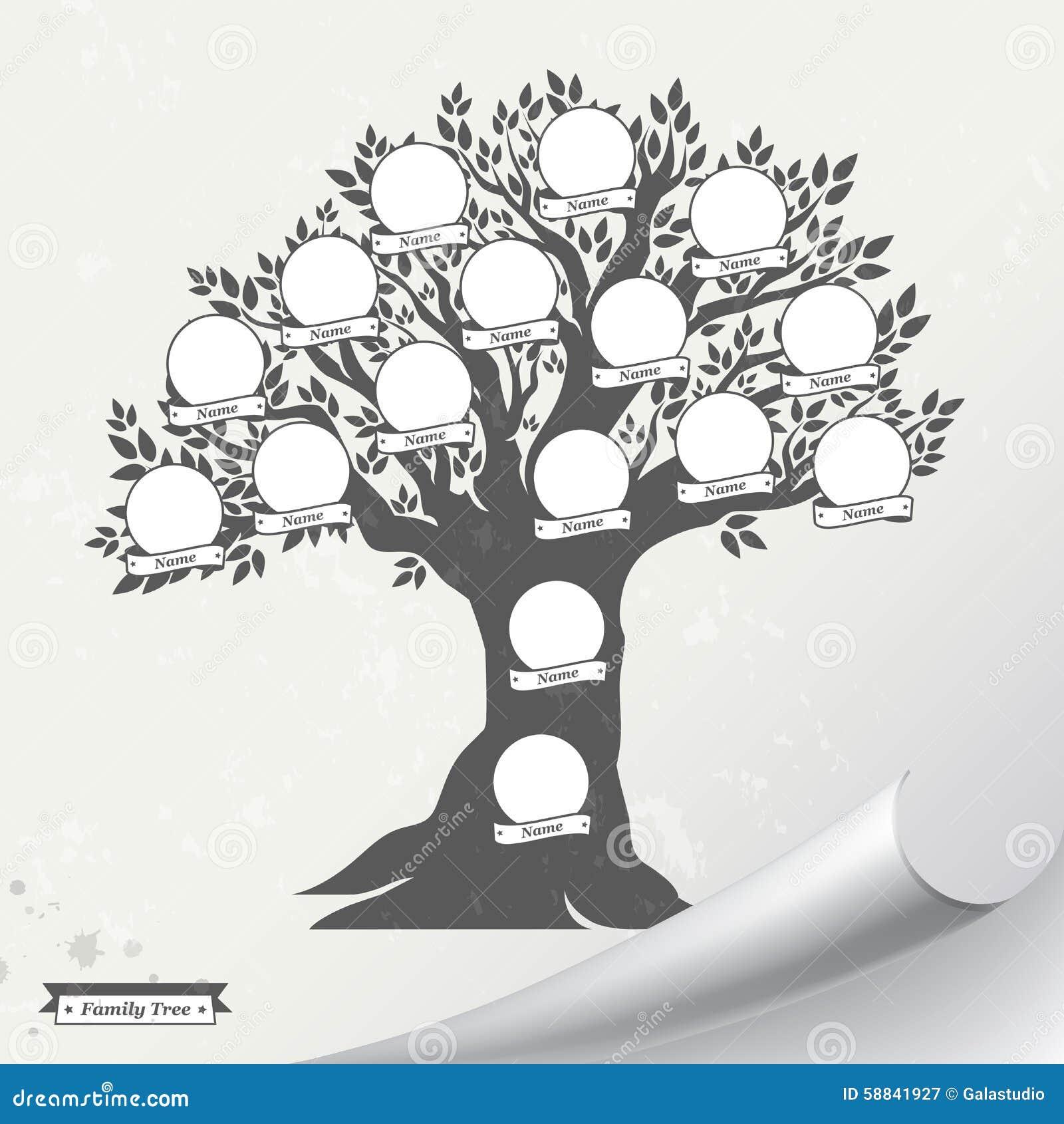 illustratie stamboom de lege frames en de nalaatjes