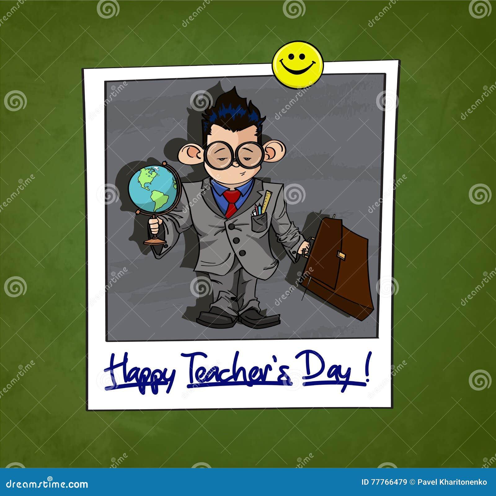 Illustratie van Weinig jongen in grote glazen gekleed als een Professor Gelukkige Teacher& x27; s Dagtitel