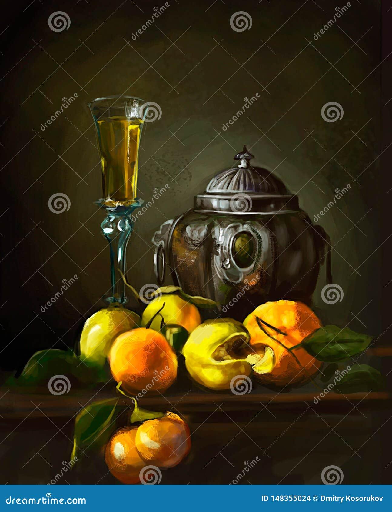Illustratie van wijn en perziken op de lijst