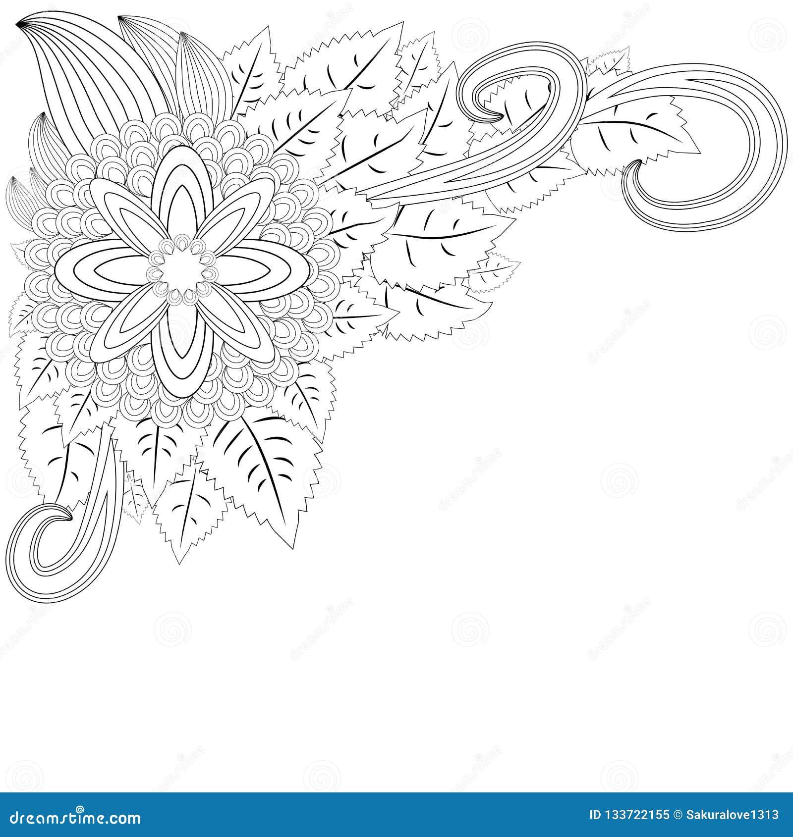 Illustratie zentangl Het frame van de bloem Kleurend boek Antistress voor volwassenen en kinderen Het werk werd gedaan op handwij