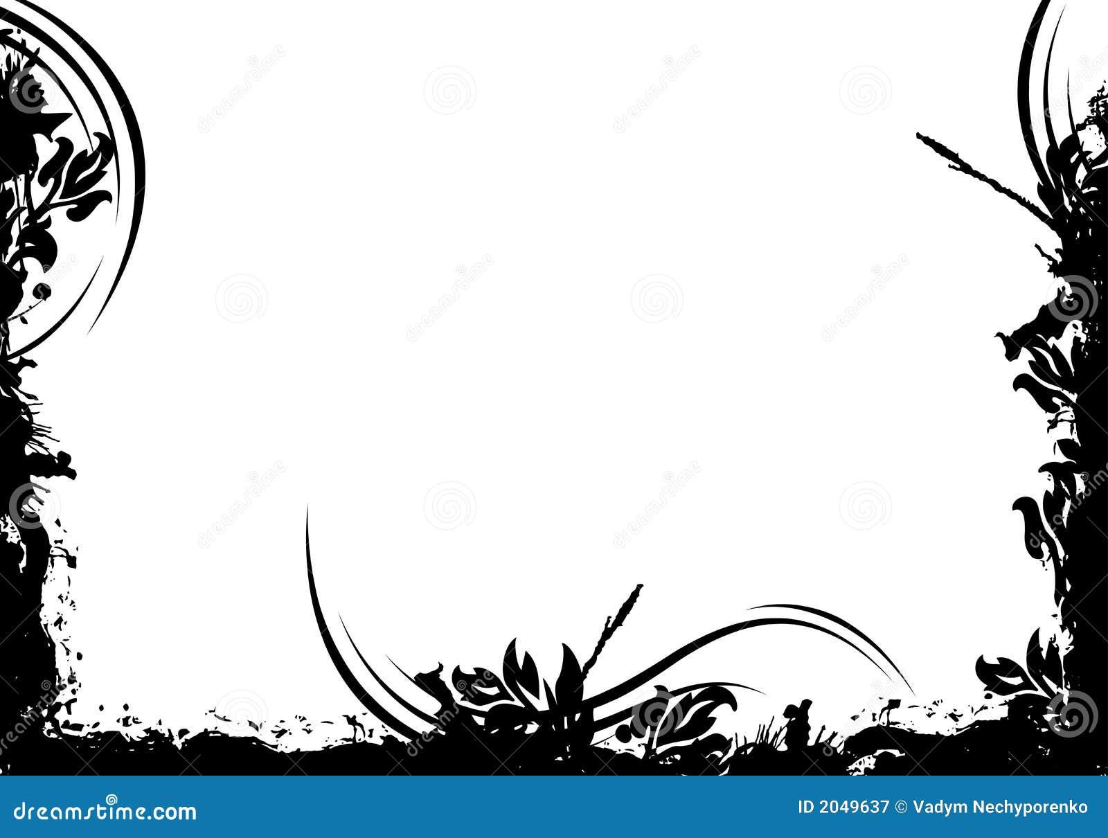 Illustratio preto decorativo floral do vetor do frame do grunge abstrato