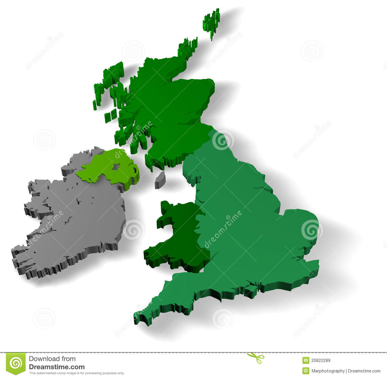 3d Map Of England.Illustration 3d Of United Kingdom Of Great Britain Stock