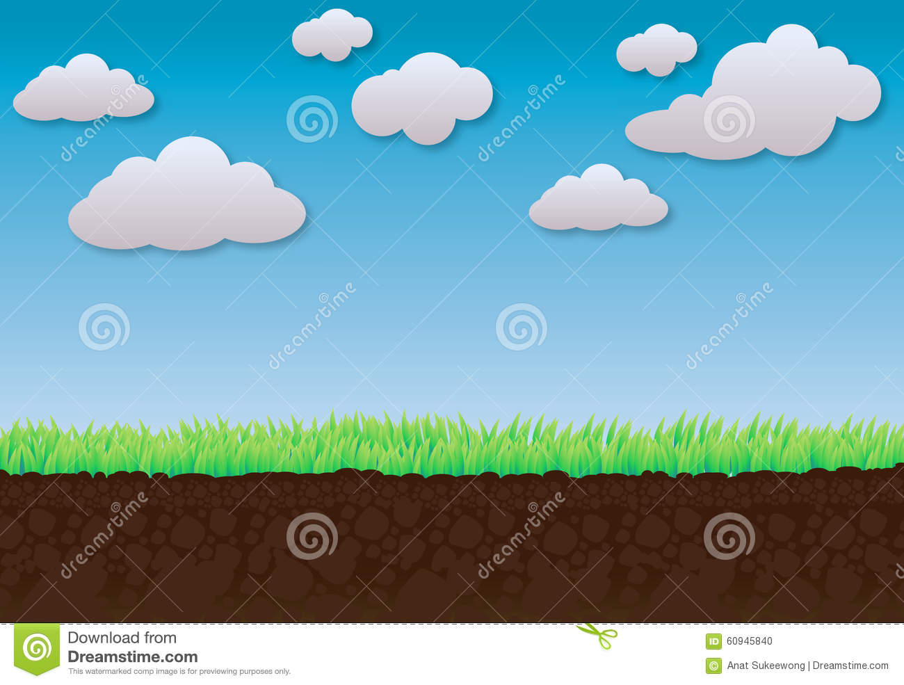 Clouds Blue Sky Green Grass And Soil For Background Stock