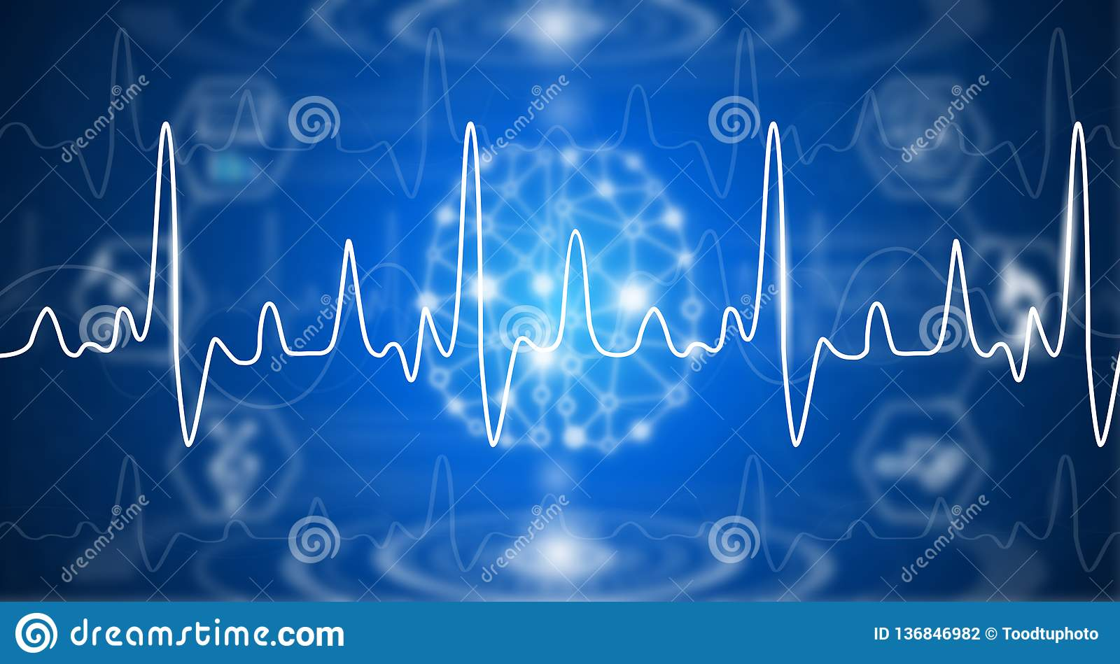 Illustration abstract background technology concept in blue light,brain and human body heal