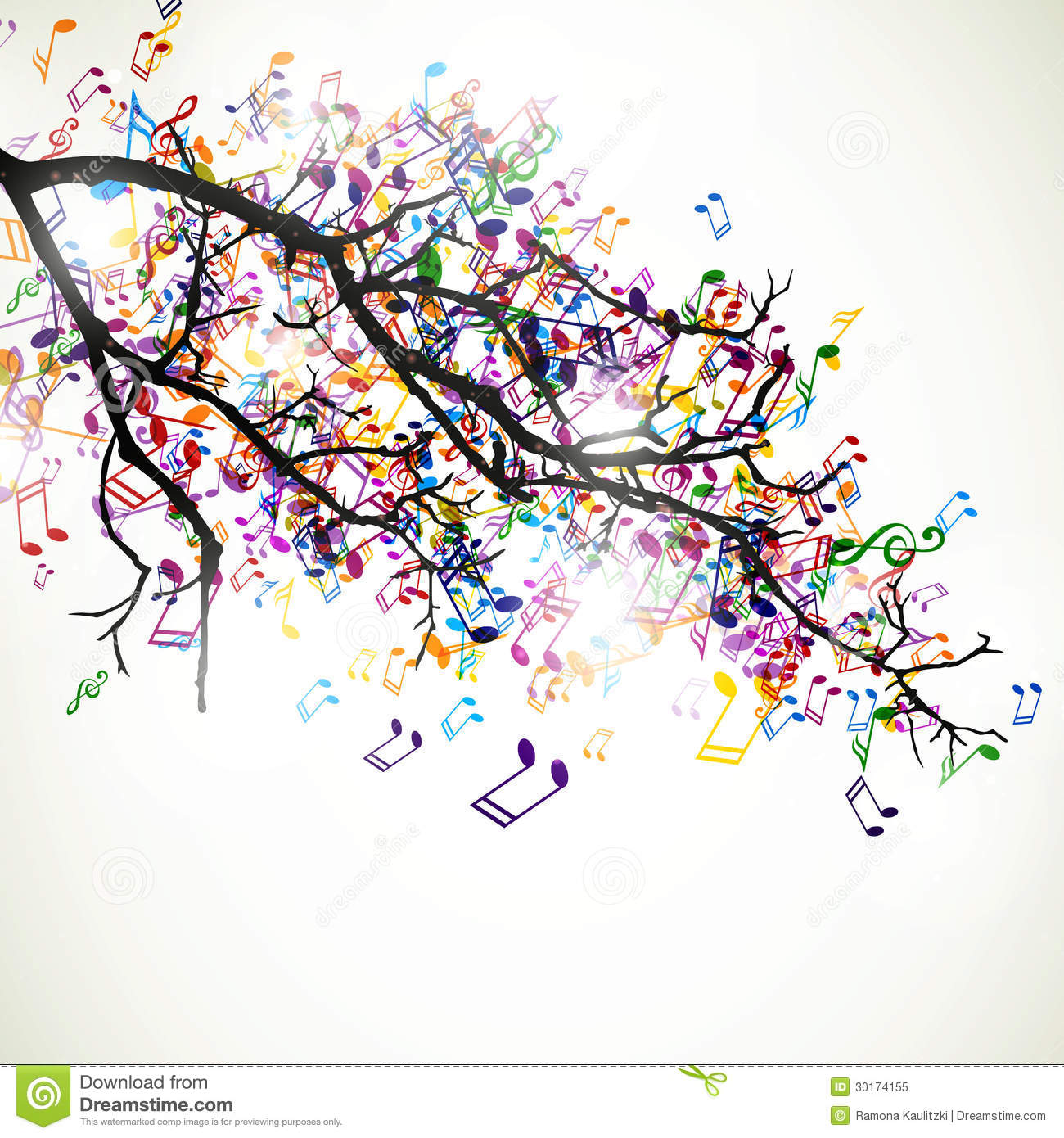 Branch With Colorful Notes Royalty Free Stock Photo - Image: 30174155