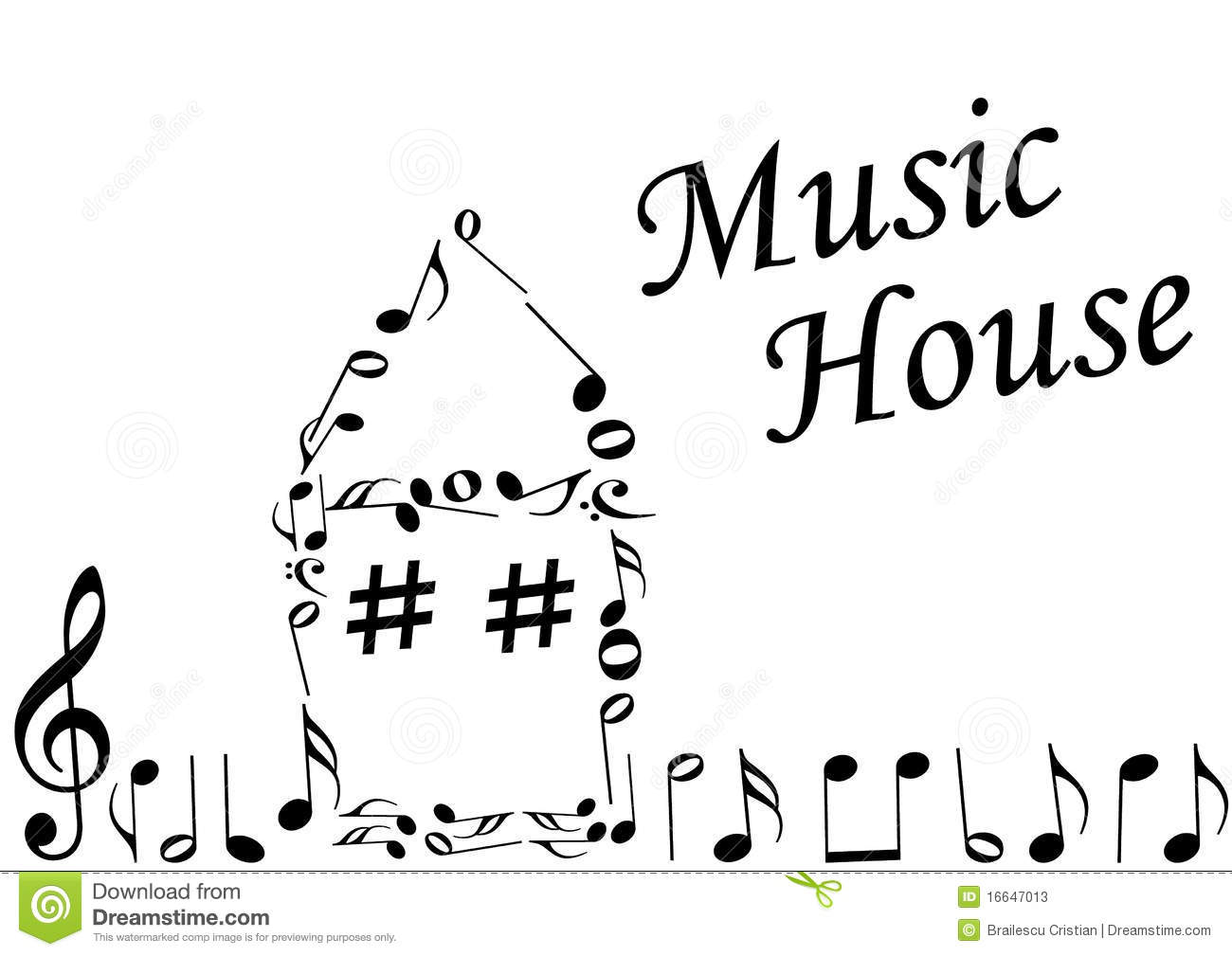 Illustration of an abstract house with music notes stock for House music images