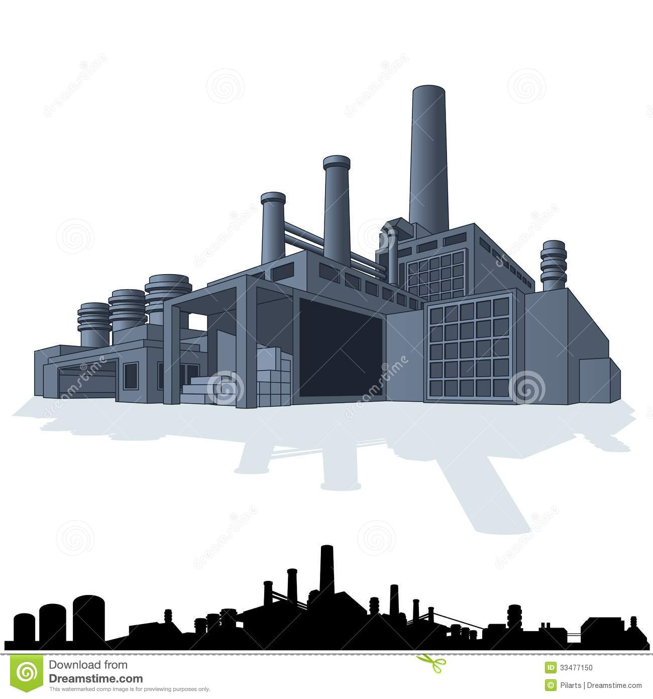 Illustration Of Abstract Large Factory. 3D Vector Stock ...