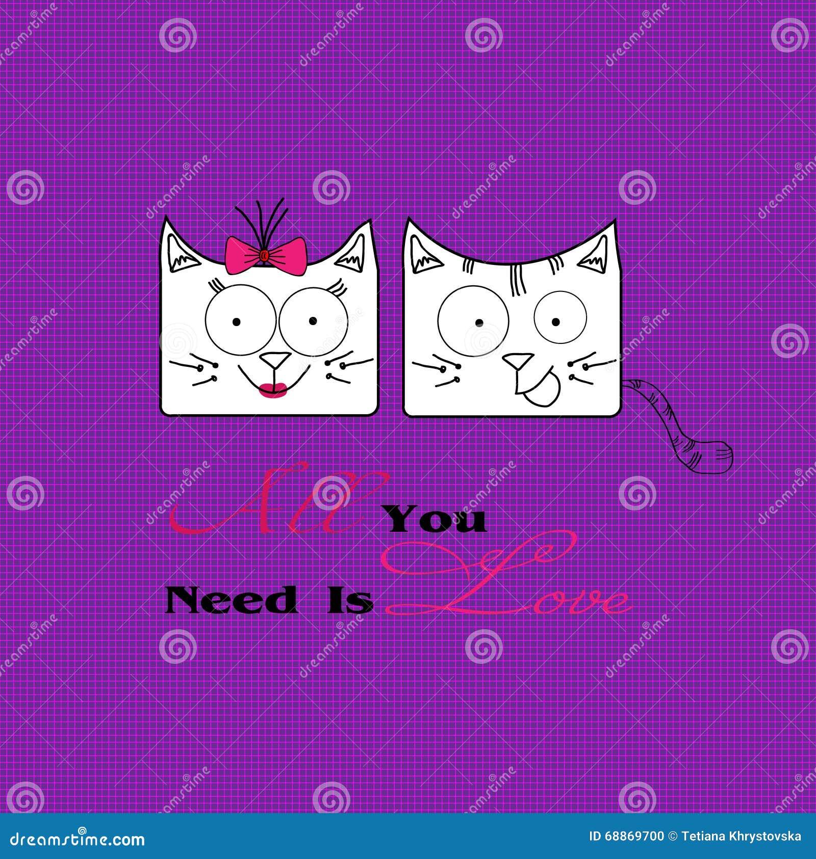 Illustration abstraite de deux chats dans l amour