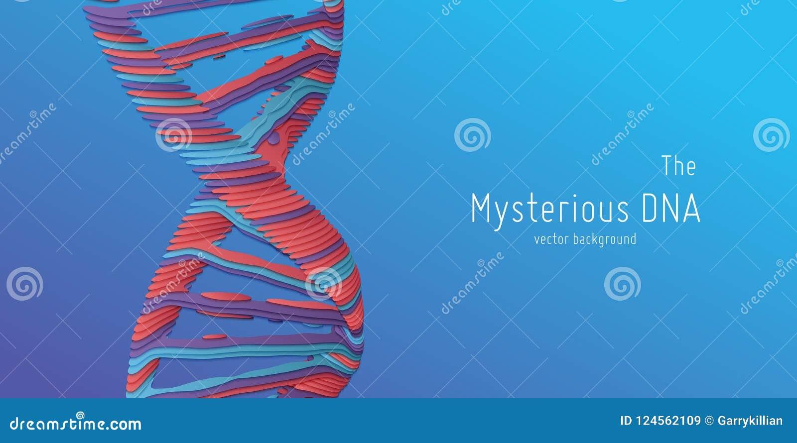 Illustration abstraite de double hélice d ADN de vecteur comme coupe de papier Source mystérieuse de fond de la vie Image futuris