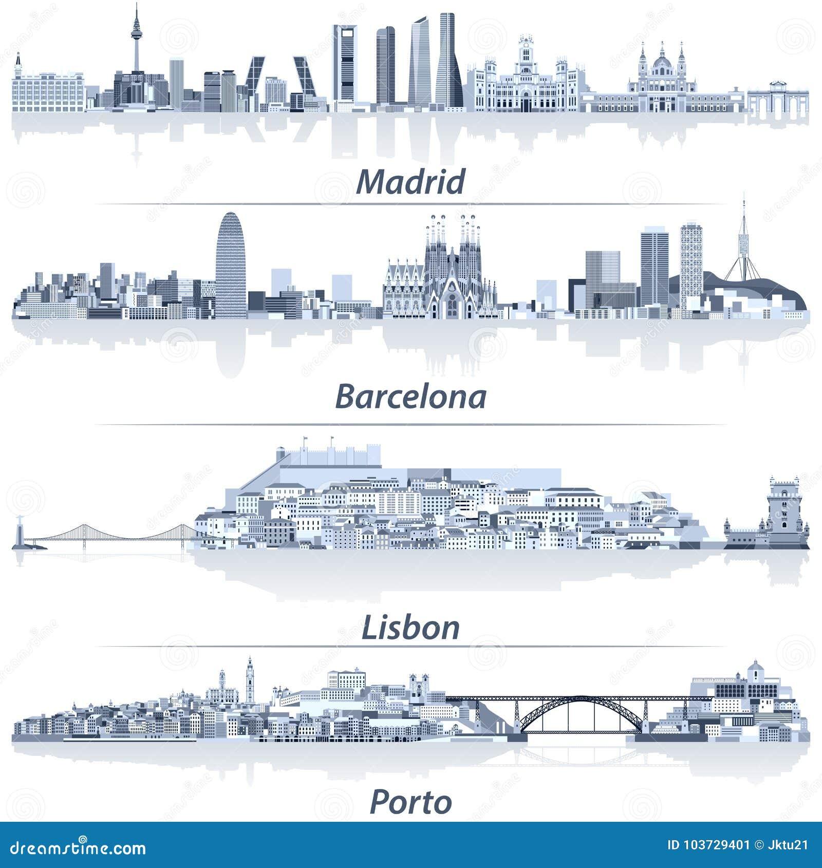 Illustration abstraite de vecteur horizons de Madrid, de Barcelone, de Lisbonne et de Porto de ville dans la palette de couleurs