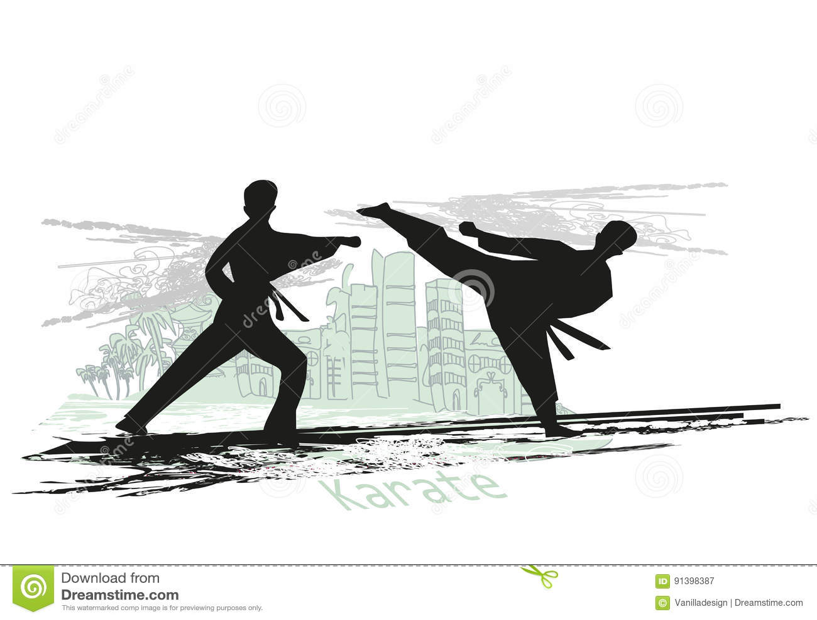 Illustration abstraite des combattants de karaté
