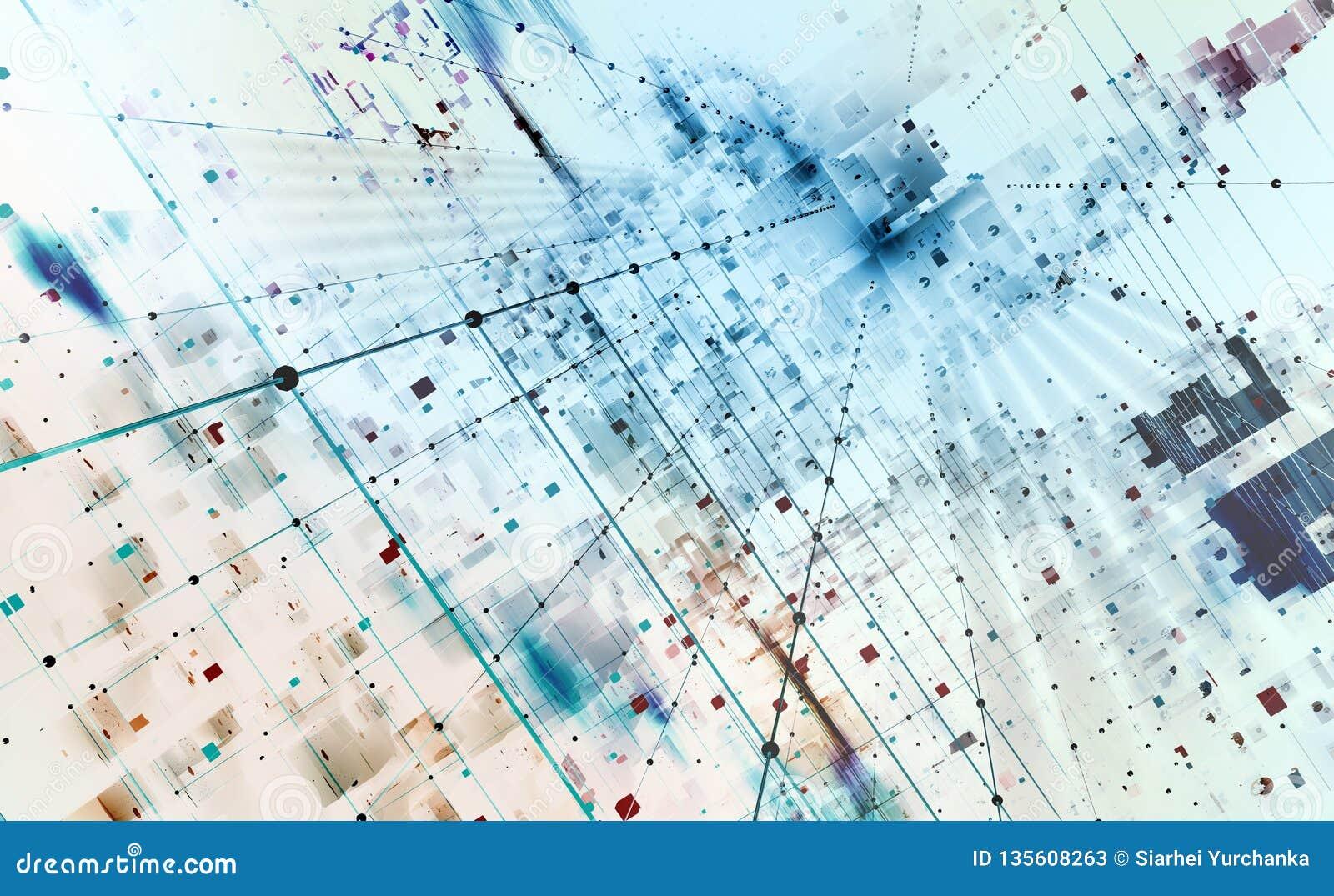 Illustration abstraite du fond 3D de technologie Architecture informatique de Quantum
