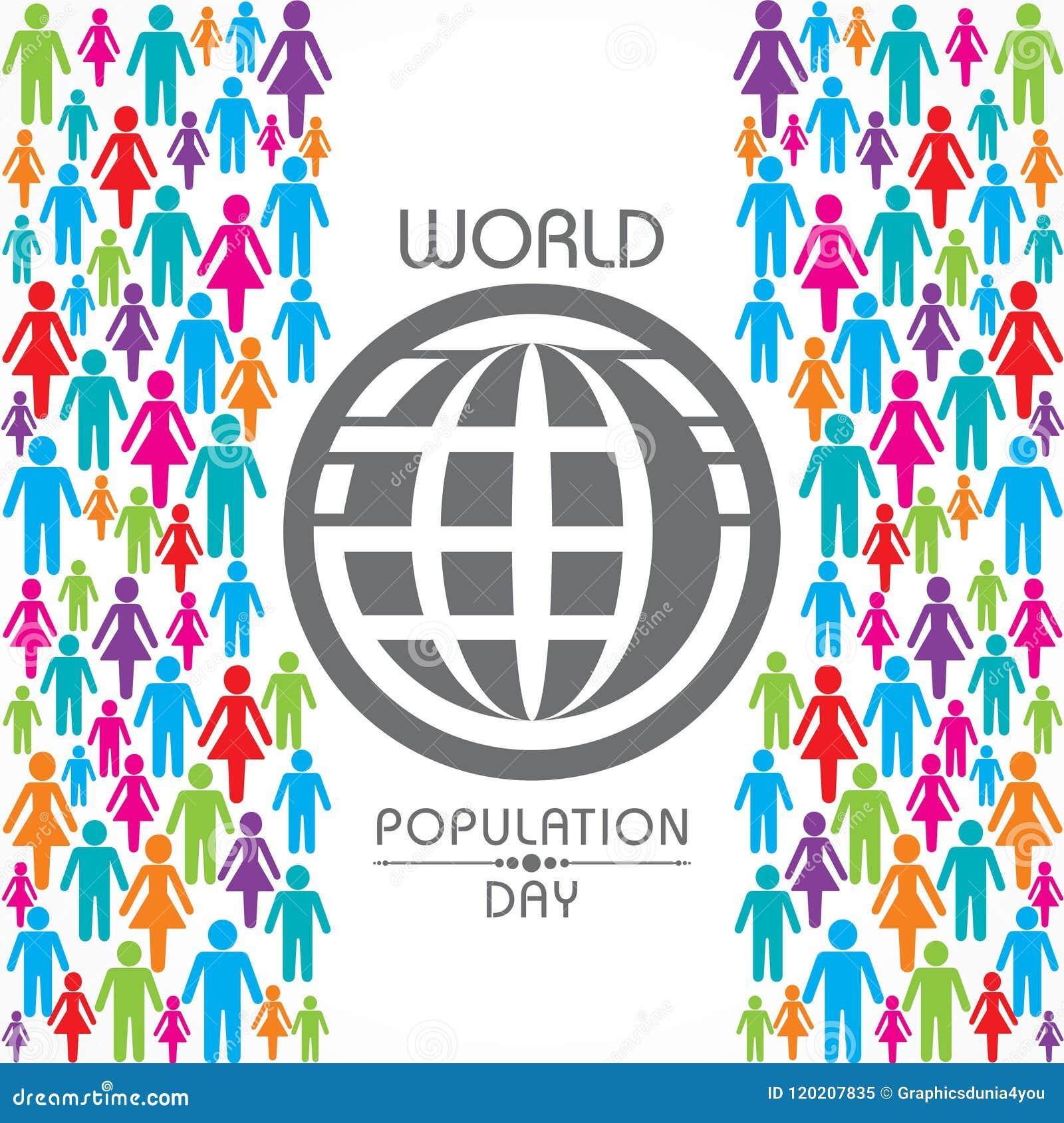 Illustration, affiche ou bannière pour le jour de population mondiale
