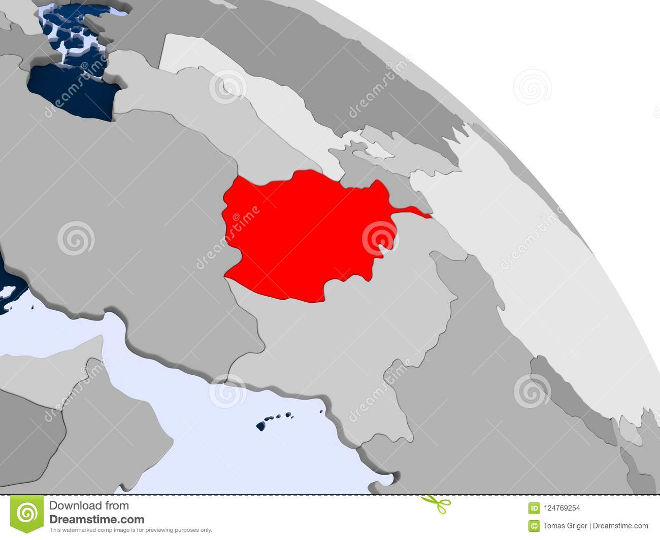 Afghanistan In Red On Map Stock Illustration Illustration Of