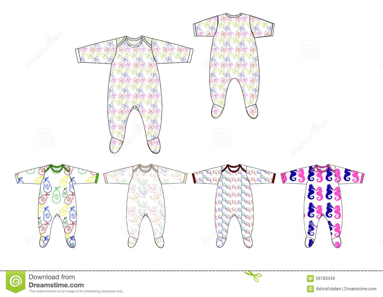 4bdeb965e Illustration of all over print jersey fabric baby boy romper design template