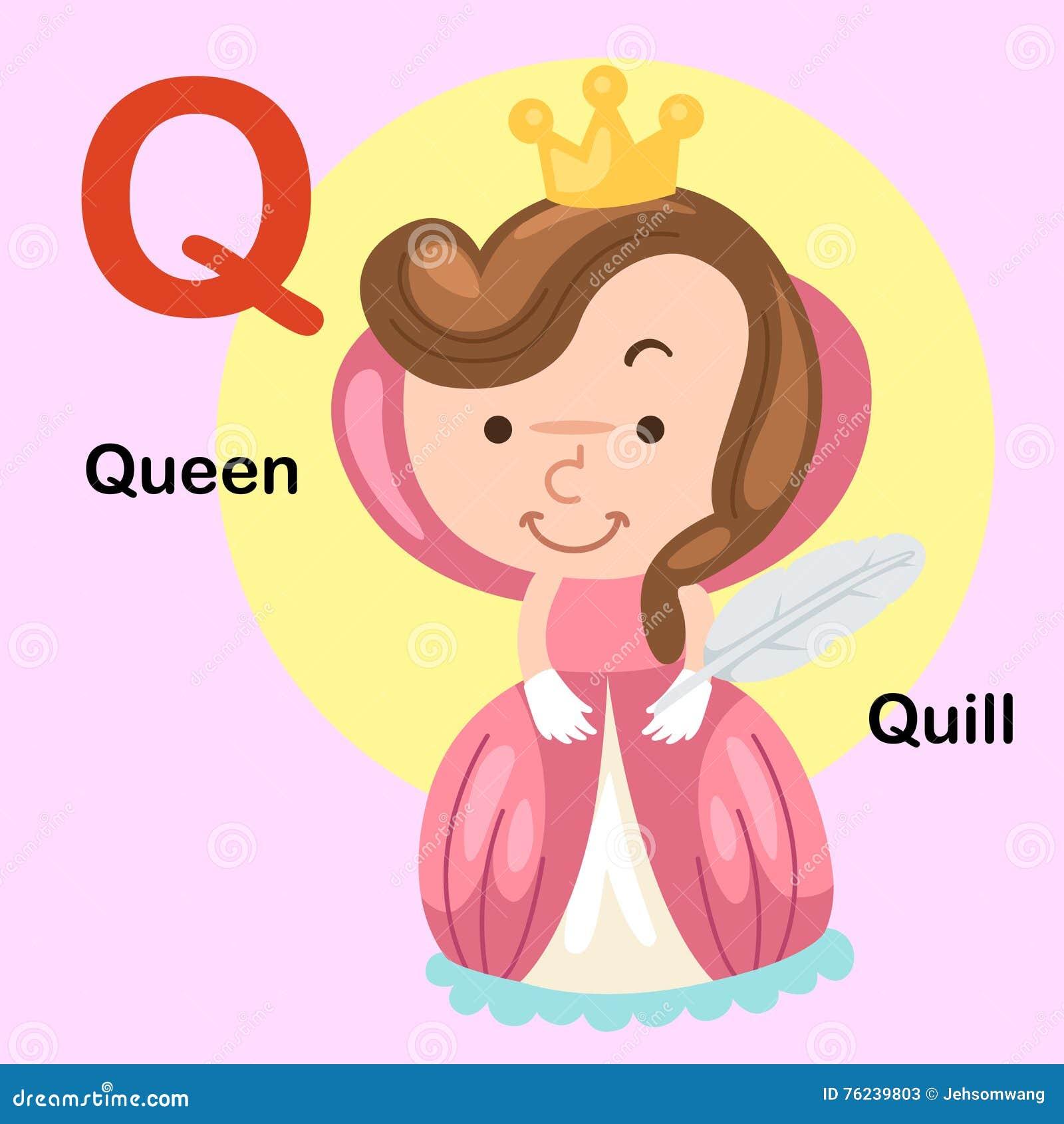 Illustration Alphabet Letter Q-Queen,Quill Stock Vector ...