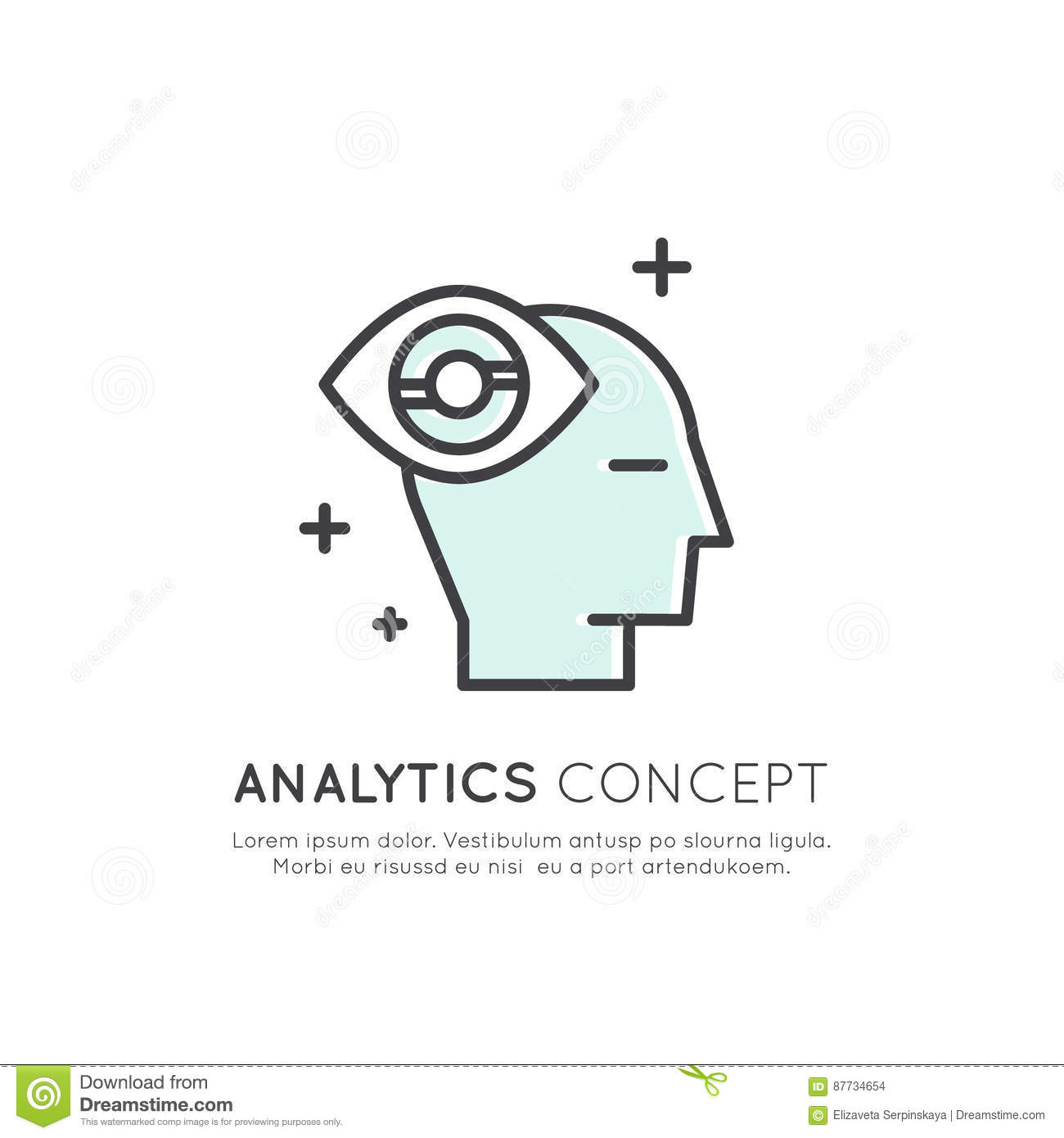 Illustration of Analytics, Management, Business Thinking Skill, Decision Making, Time Management, Memory, Sitemap, Brainstorming a