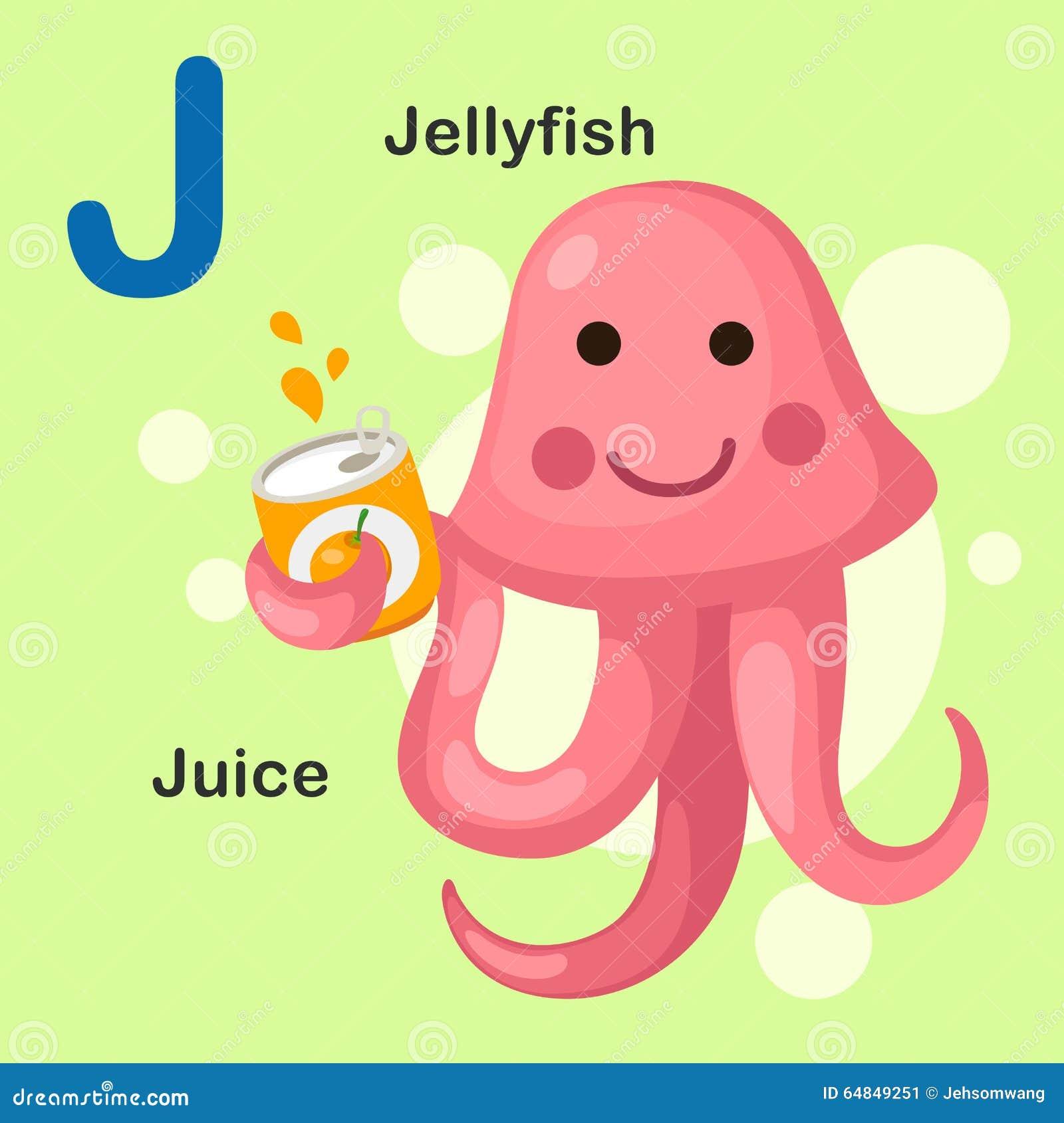 Illustration Animal Alphabet Letter J-Jellyfish, Juice Stock Vector ...