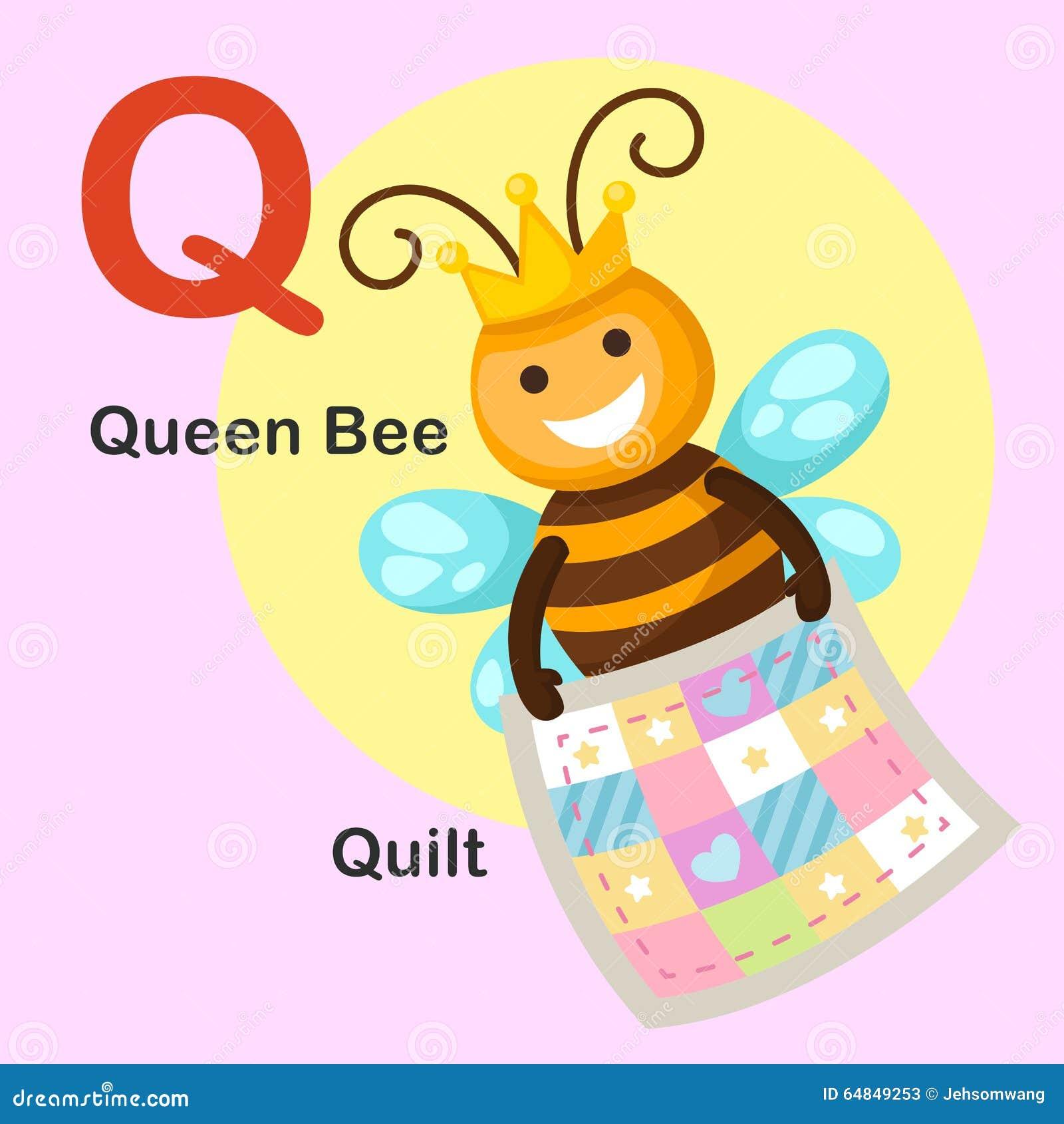 Illustration Animal Alphabet Letter Q-Quilt,queen Bee Illustration ... : q for quilt - Adamdwight.com