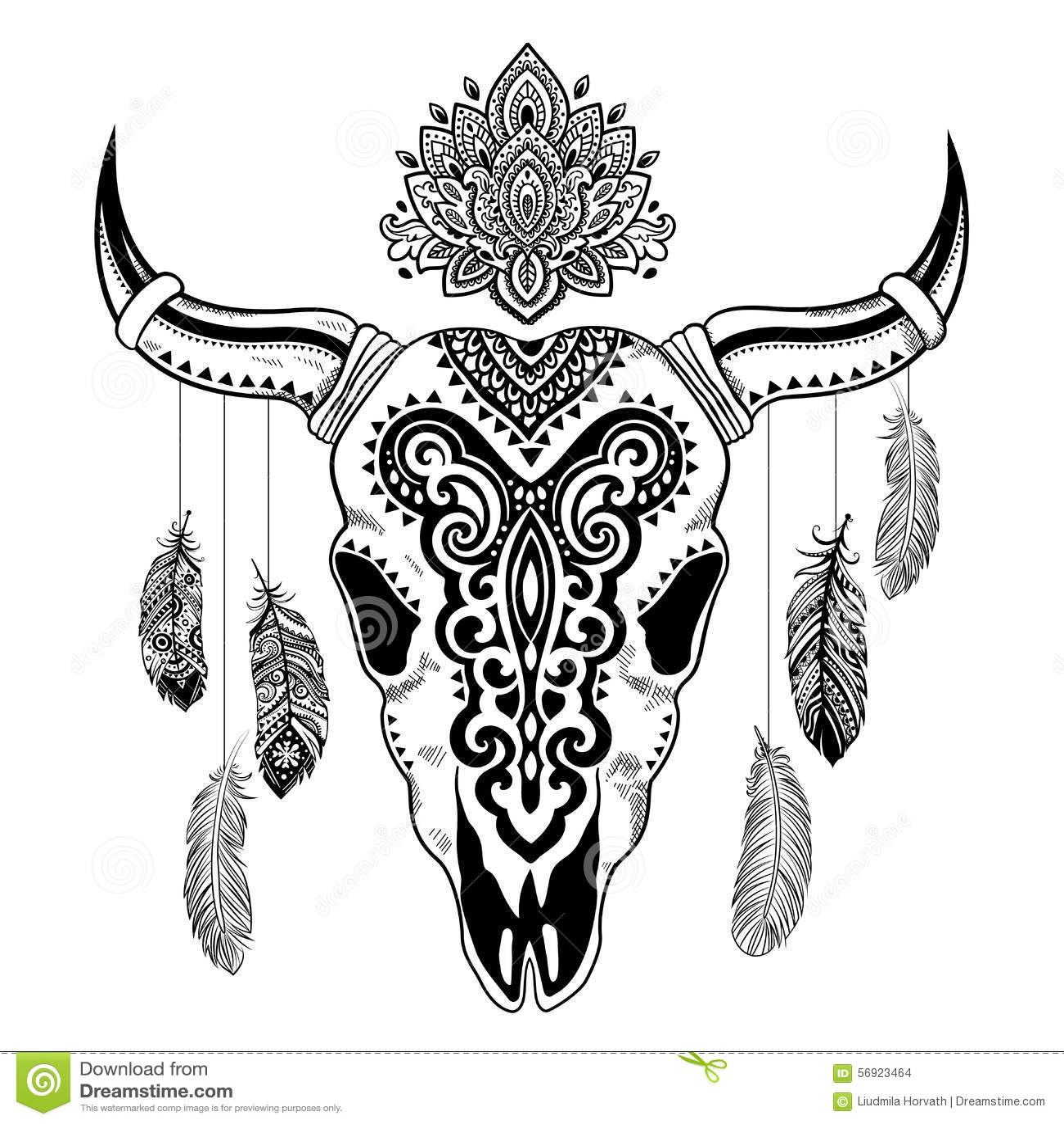illustration animale tribale de cr ne avec ethnique illustration stock illustration du death. Black Bedroom Furniture Sets. Home Design Ideas