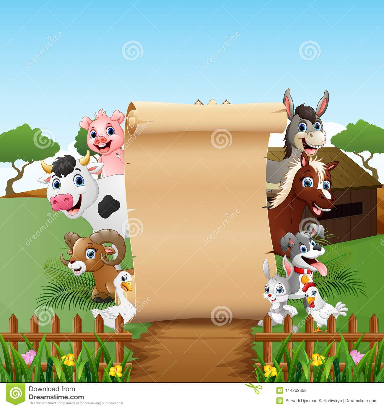 animals farm with a blank sign paper stock vector illustration of