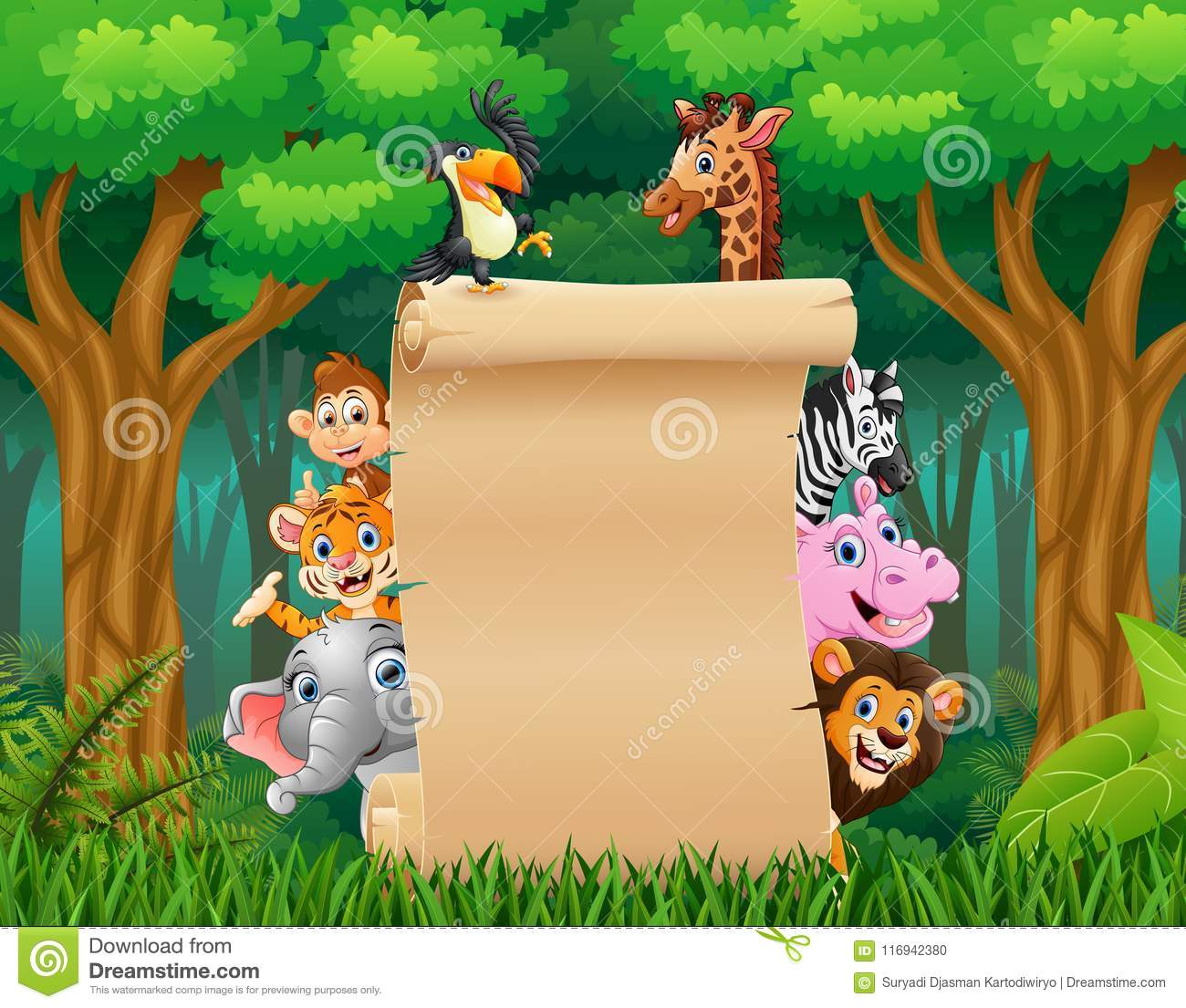 animals farm with a blank sign paper roll up stock vector