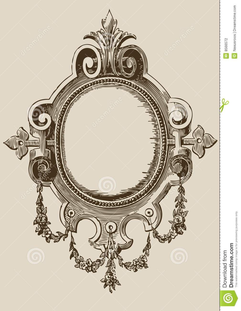 Black And White Illustration Of An Old Mirror With A Large Antique
