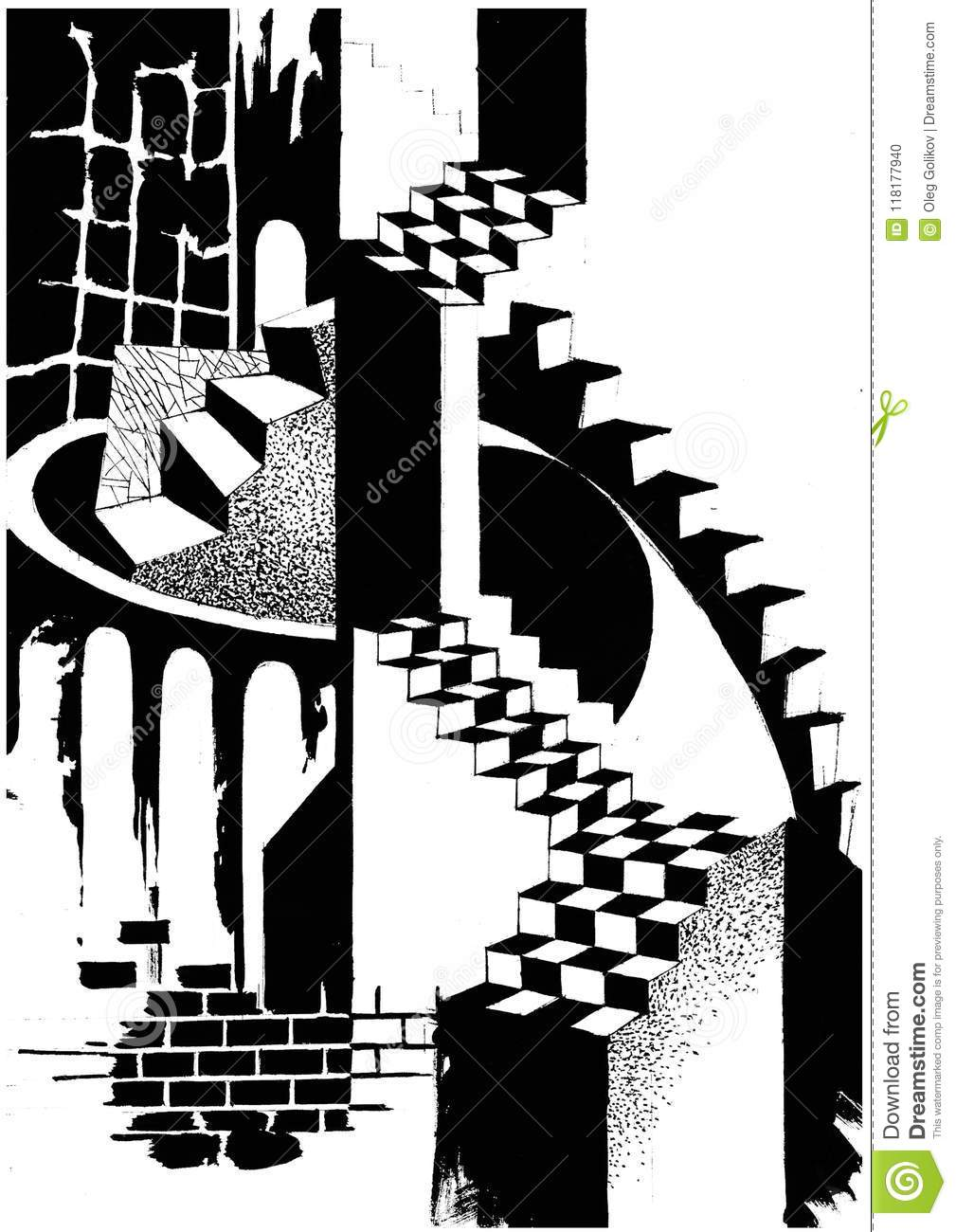 Illustration of an architectural abstract composition the drawing is executed by hand with different graphic effects