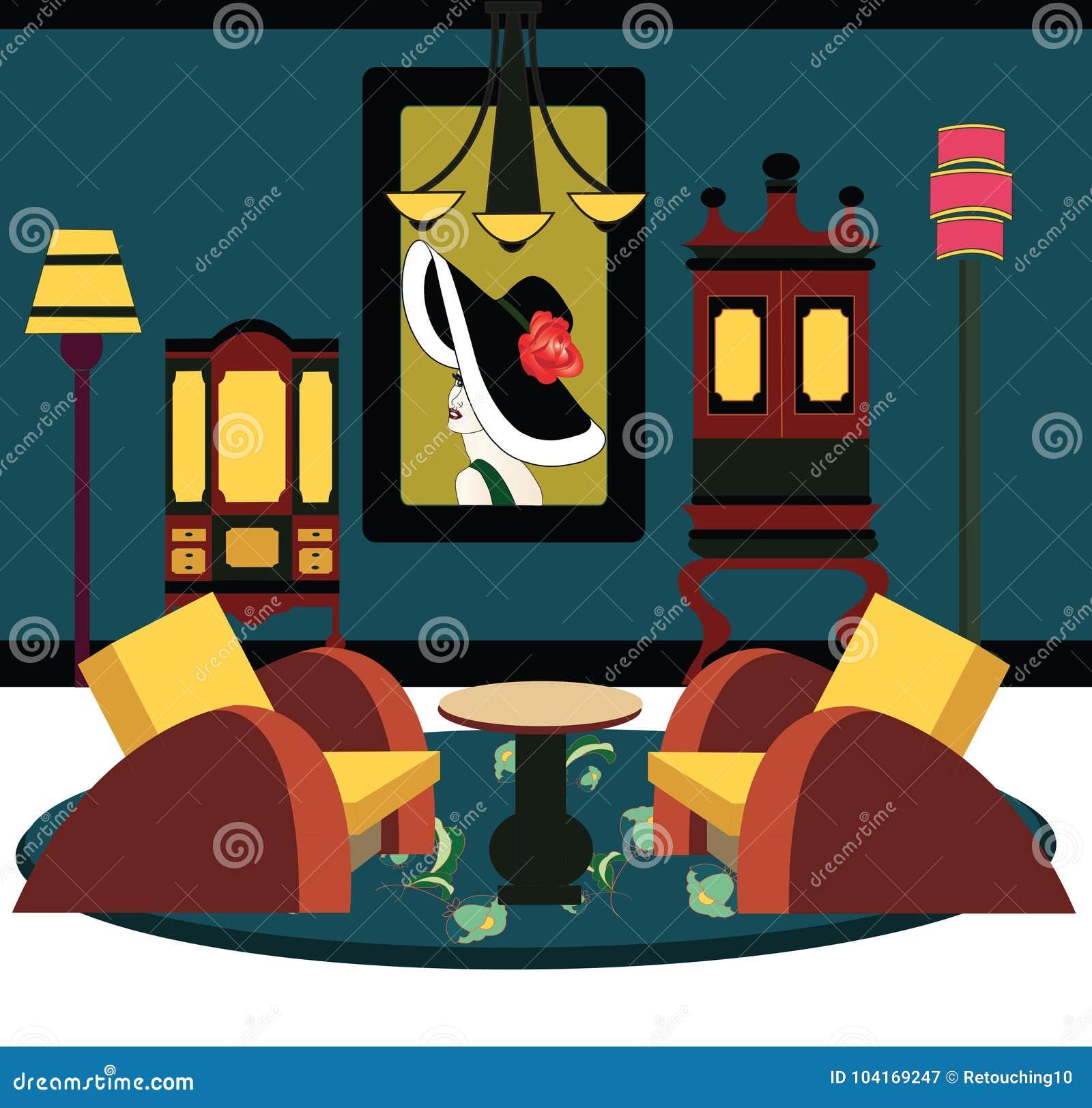 Phenomenal Illustration Of An Art Deco Room Stock Vector Illustration Download Free Architecture Designs Pendunizatbritishbridgeorg