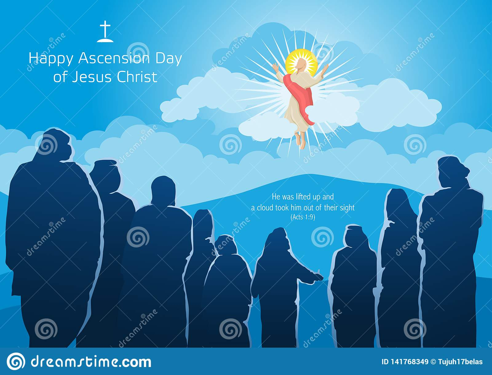 Happy Ascension Day Of Jesus Christ Stock Vector Illustration Of