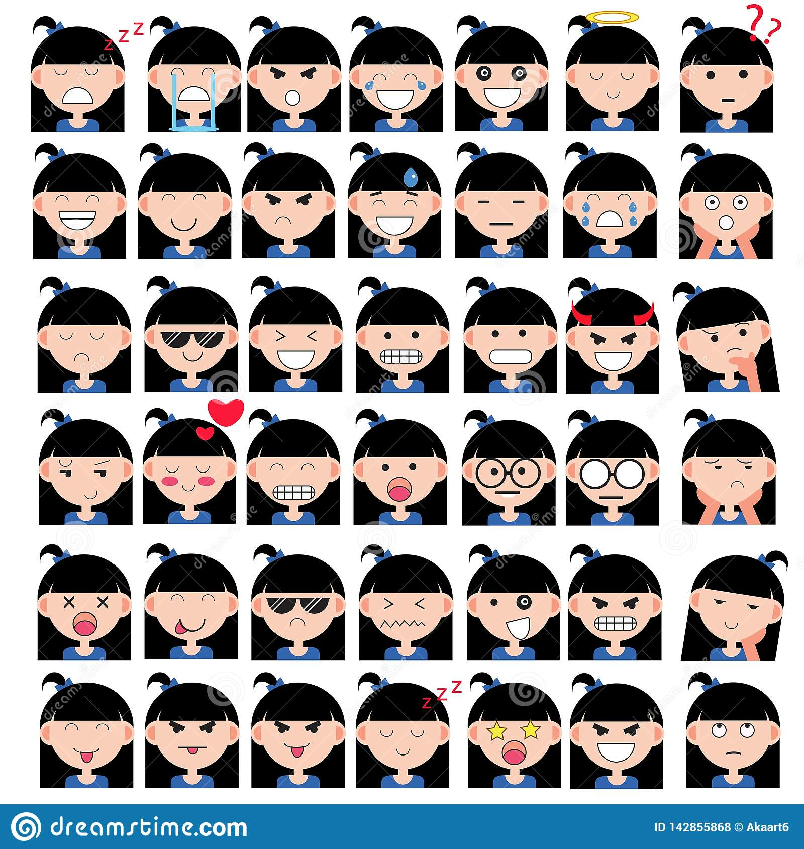 Illustration of asian cute girl faces showing different emotions. Joy, sadness, anger, talking, funny, fear, smile. Isolated