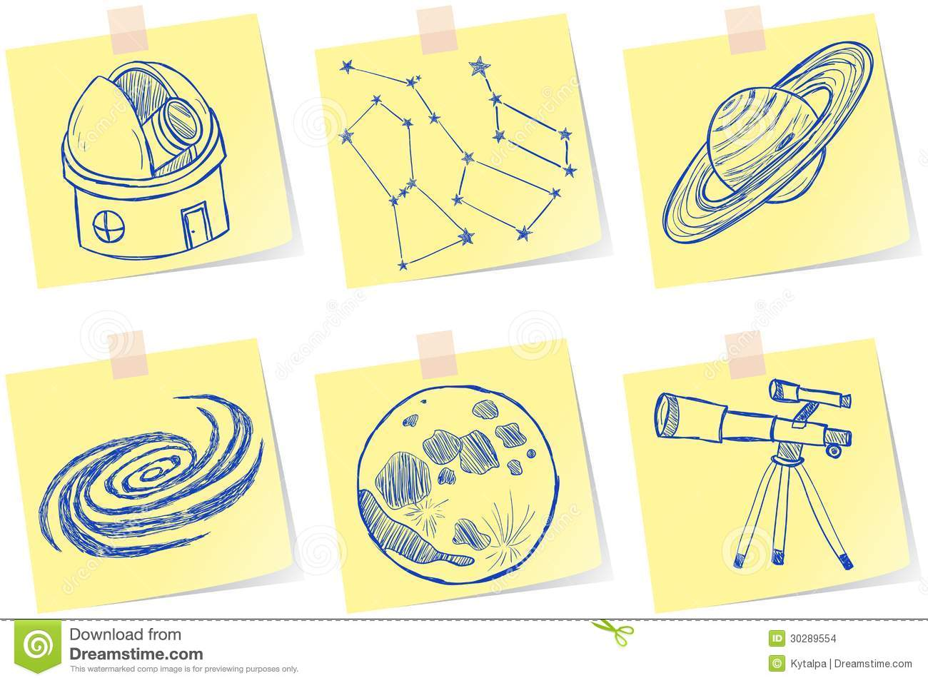 Astronomy And Observatory Sketches Stock Vector