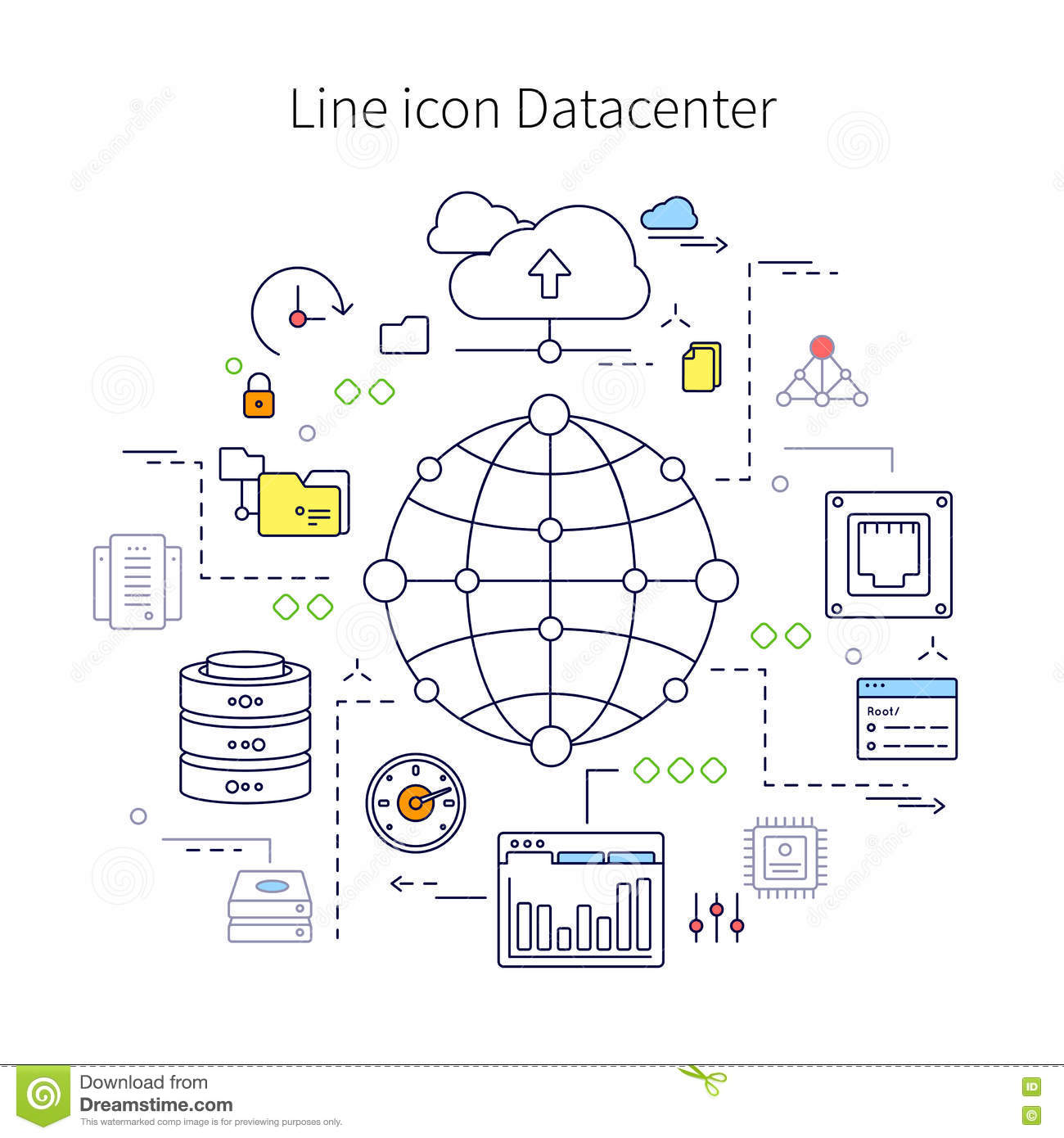 Illustration au trait Datacenter
