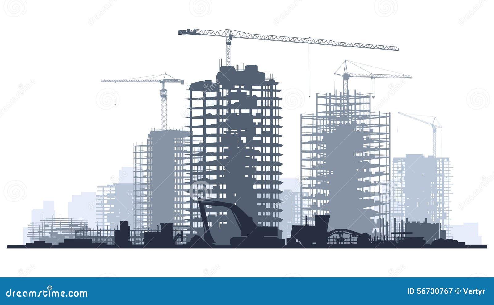 Illustration au trait de chantier de construction avec la for Chantiers de construction