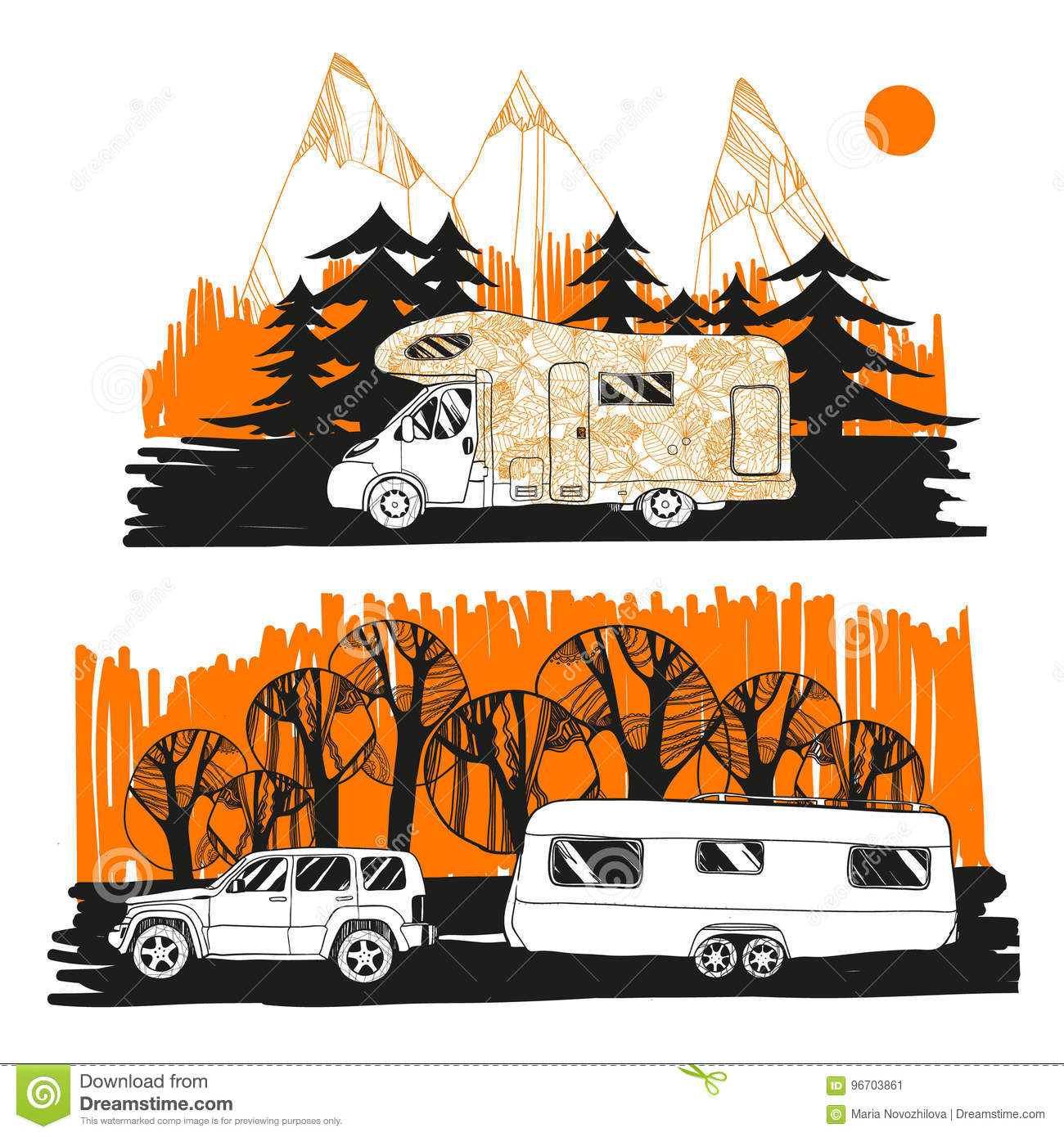 Illustration Of Autumn Landscape With Camper Van On Road Top View