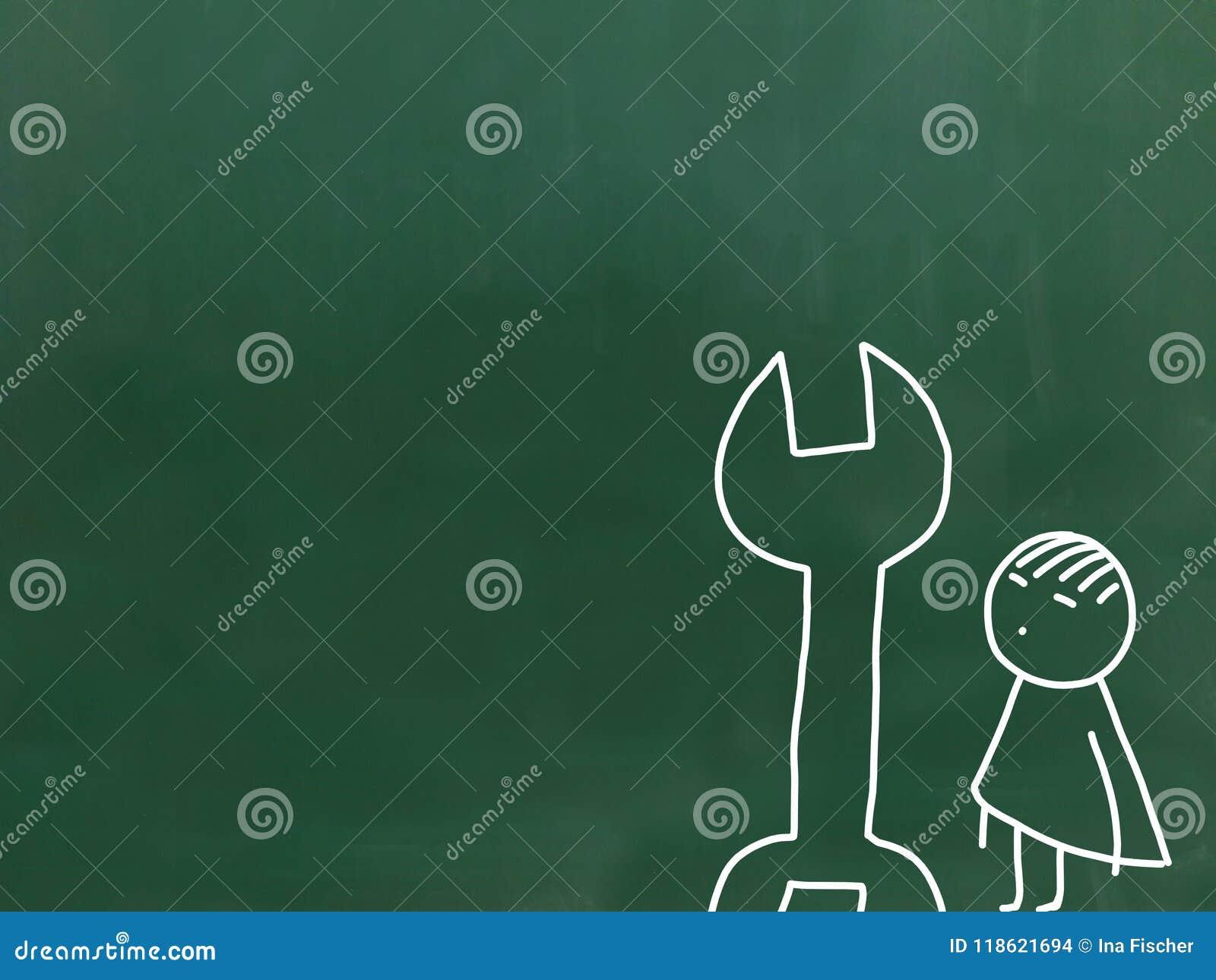 Illustration av barnarbete en grön svart tavla