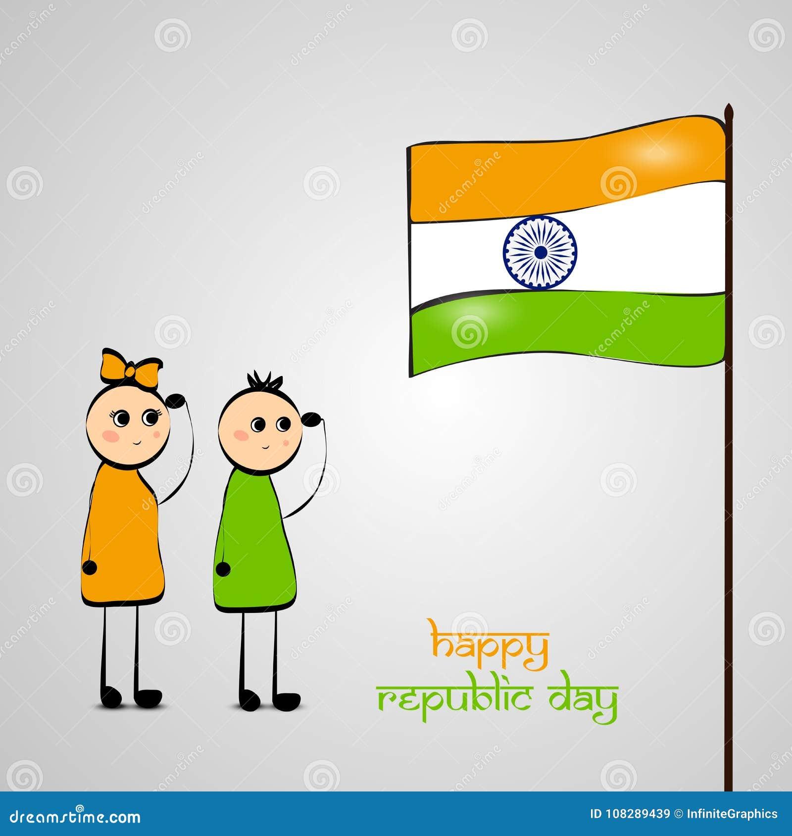 Illustration av beståndsdelar av den Indien republikdagen