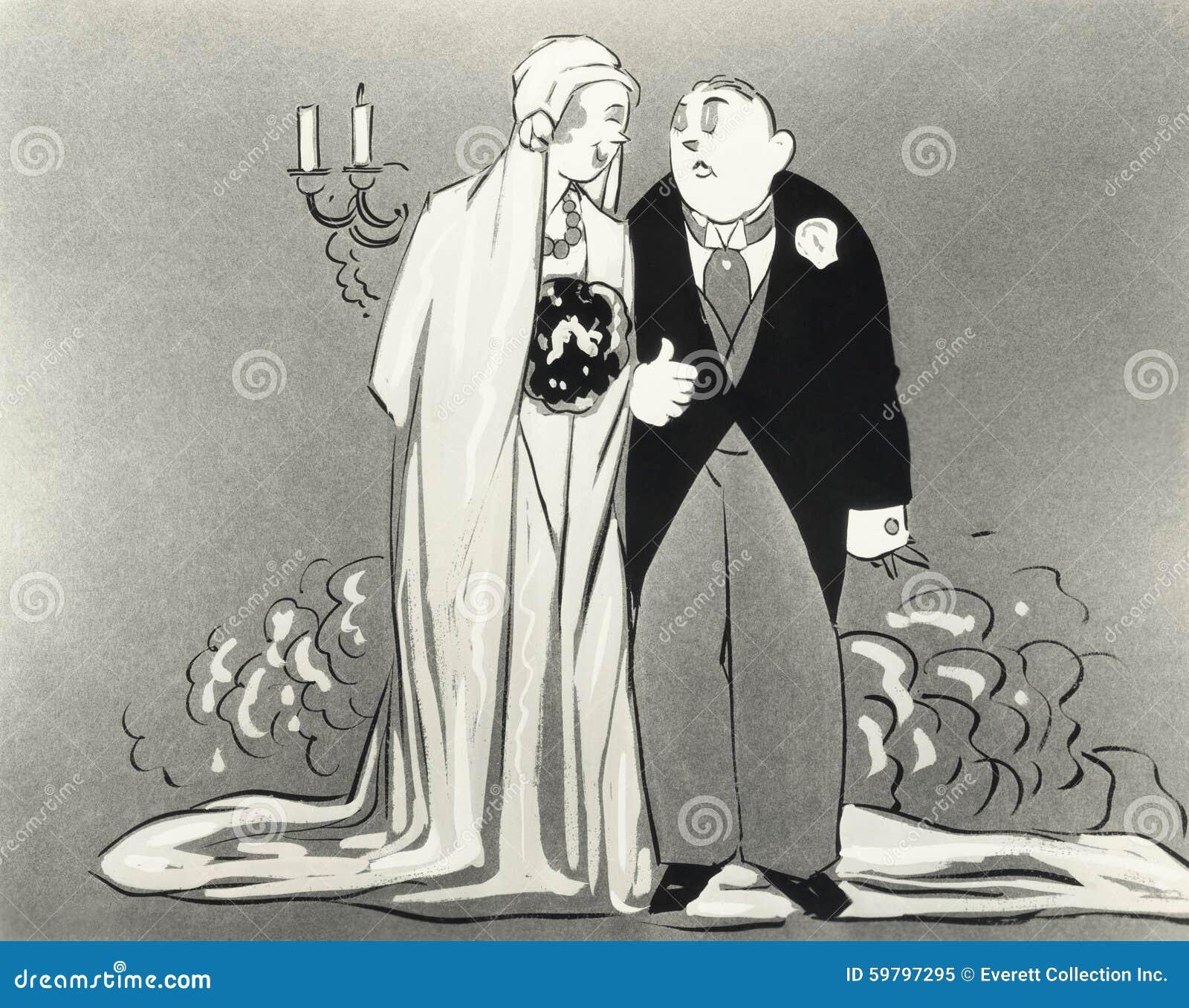 Illustration av bruden och brudgummen