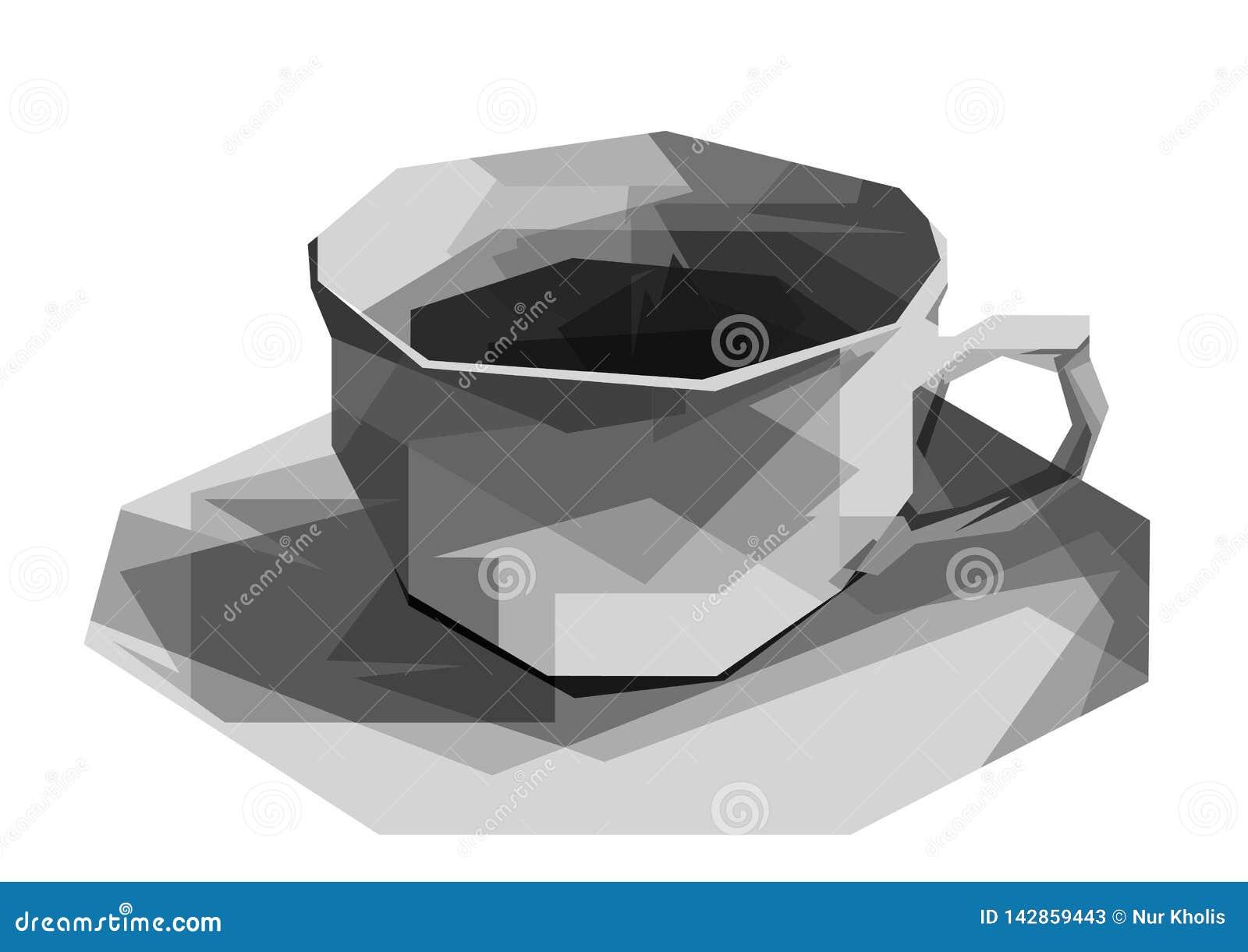 Illustration av den gråa koppen på fasettstil