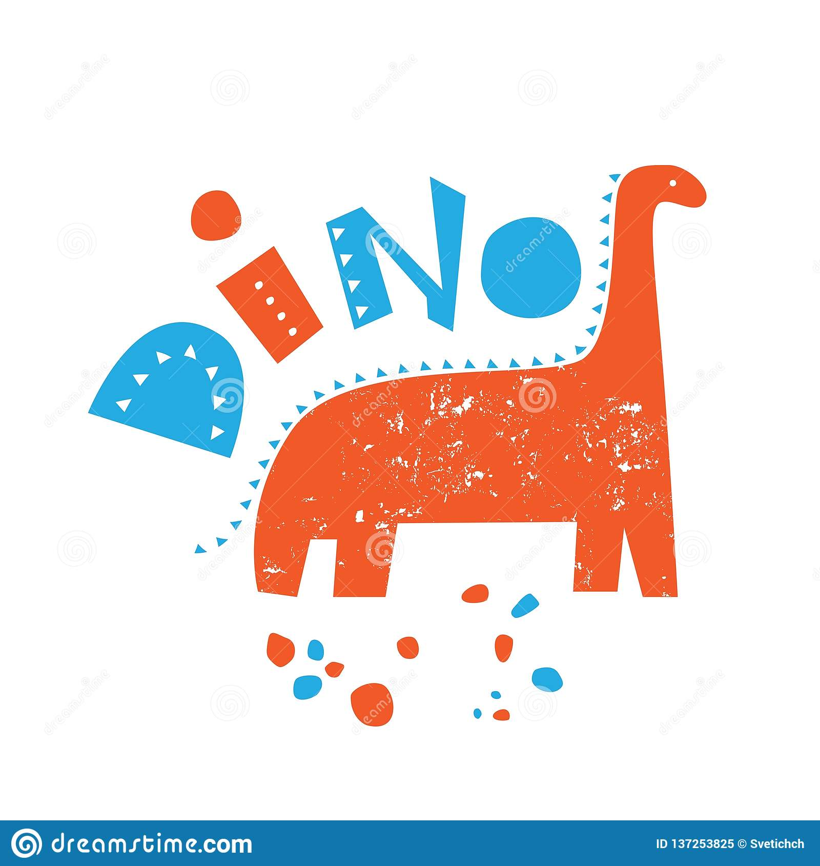 Illustration Av En Dinosaurie Med Orden Dino Vektor Illustrationer