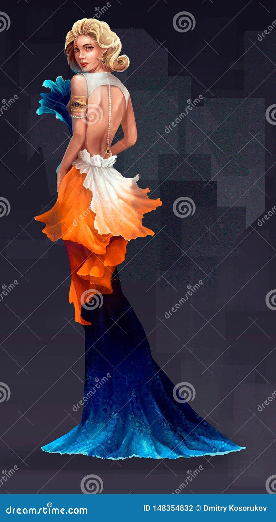 Illustration av en kvinna från högt samhälle