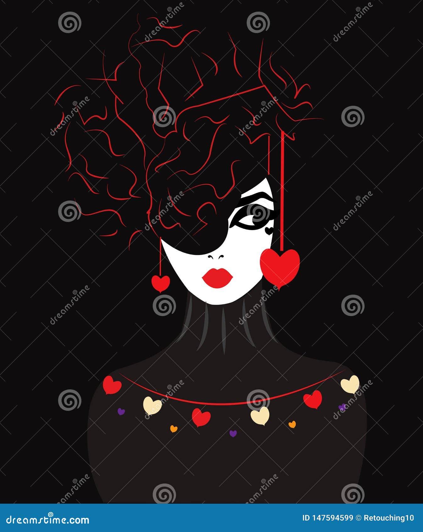 Illustration av en kvinna med hj?rnan som en frisyr