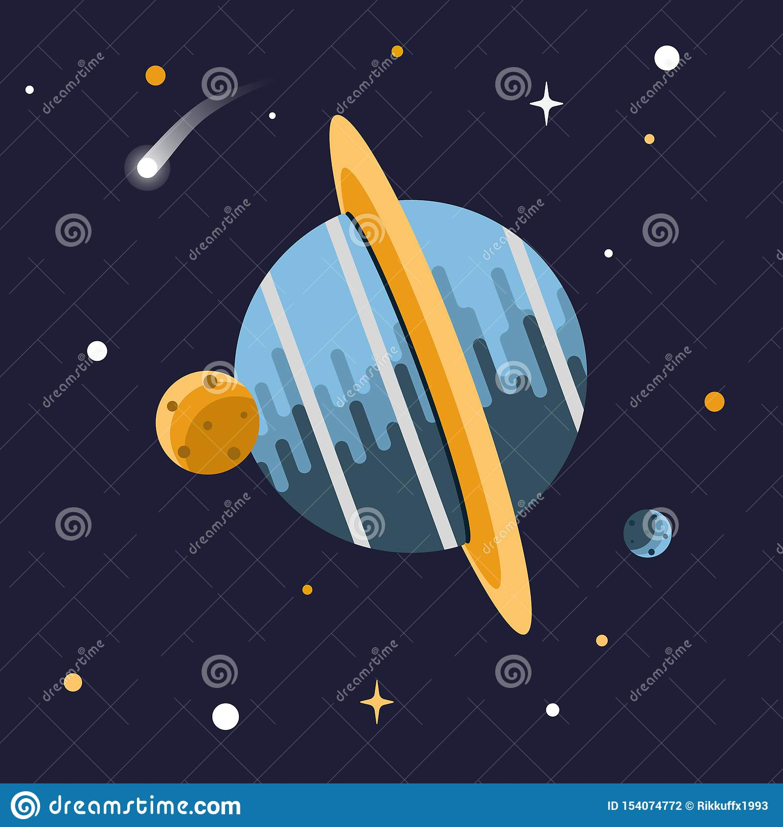 Illustration av en planet och månar i utrymme med skinande stjärnor