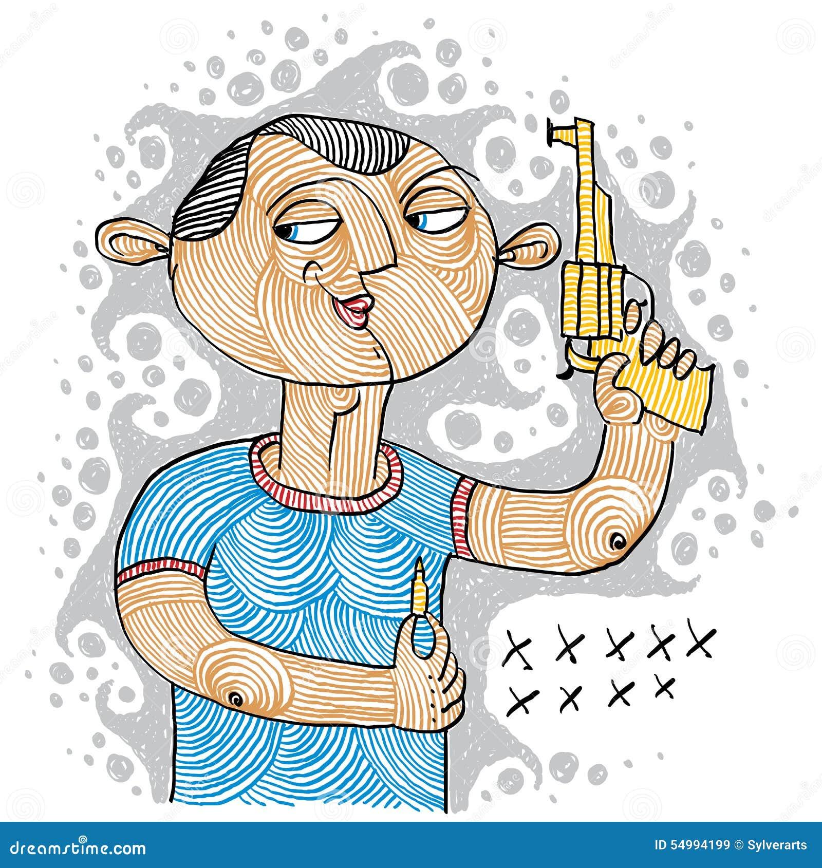 Illustration av en seriemördare som rymmer ett vapen och en ammunition för