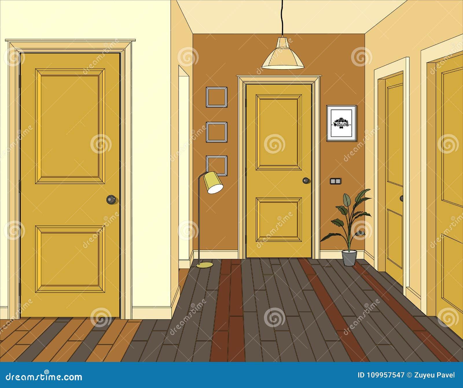 Illustration av ett rum med gula dörrar Inre av rummet med möblemang Illustrationhall