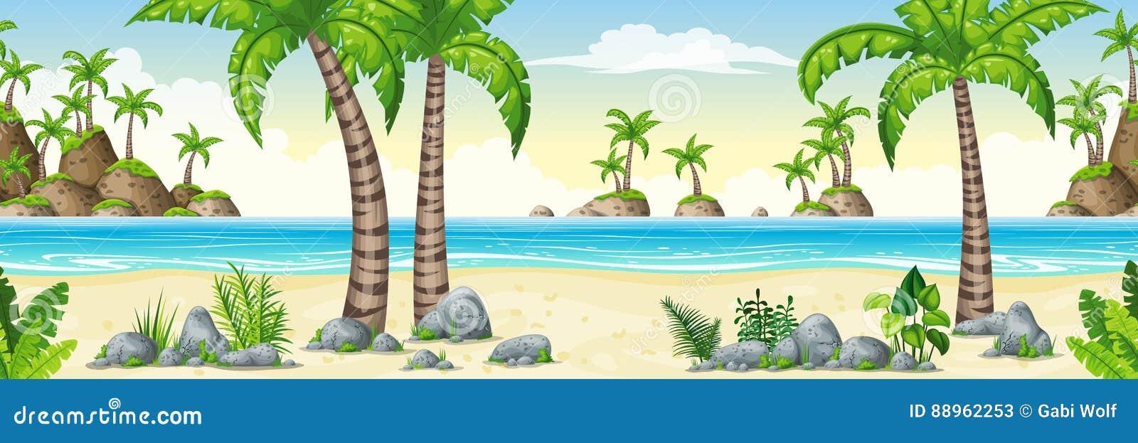 Illustration av ett tropiskt kust- landskap