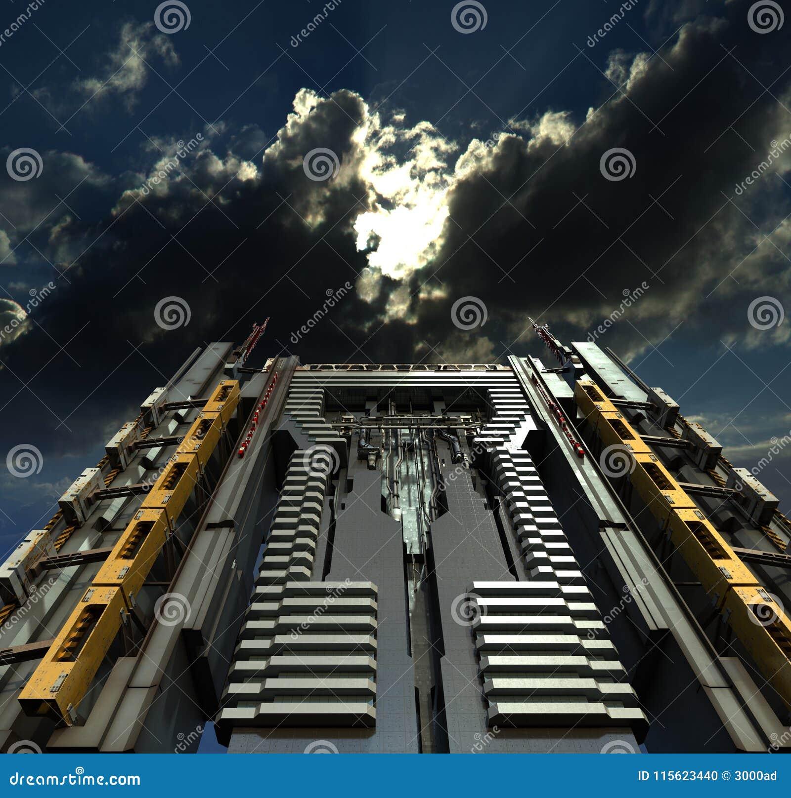 Illustration av futuristisk skyskrapaarkitektur